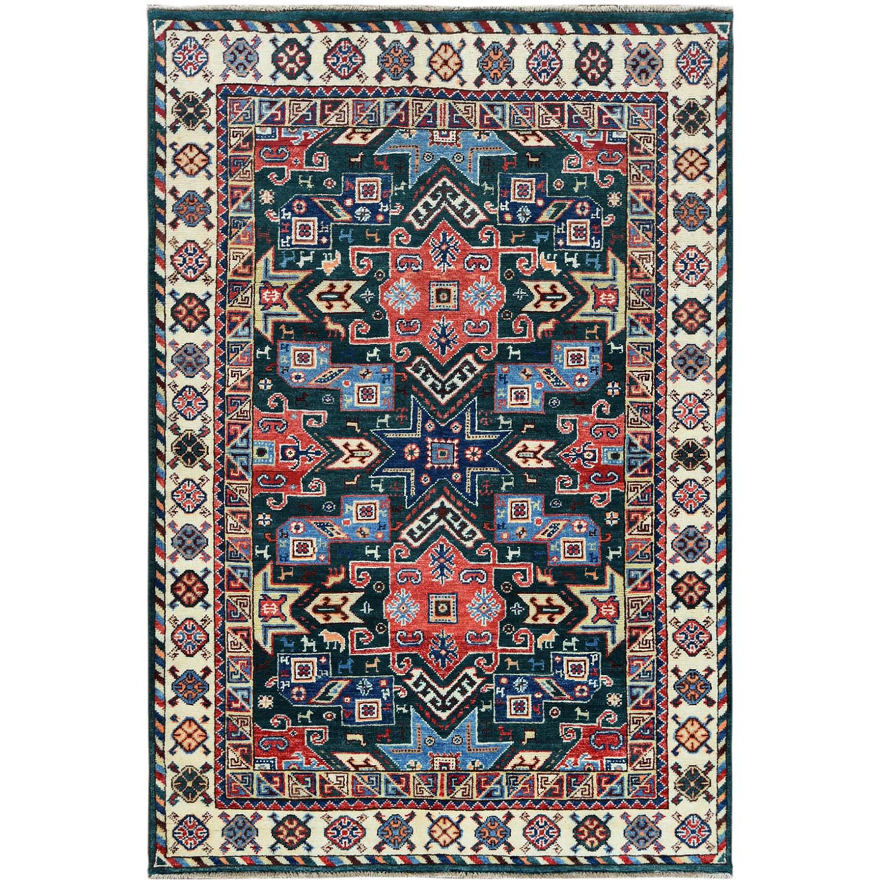 Caucasian Collection Hand Knotted Green Rug No: 1121480