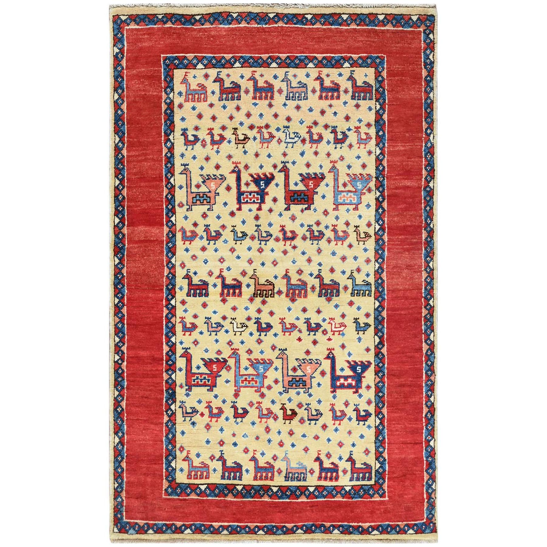 Caucasian Collection Hand Knotted Ivory Rug No: 1121470
