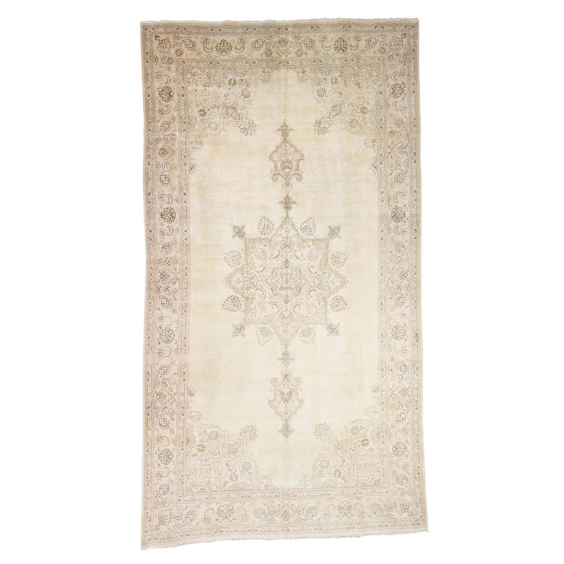 Fetneh Collection And Vintage Overdyed Collection Hand Knotted Beige Rug No: 178972