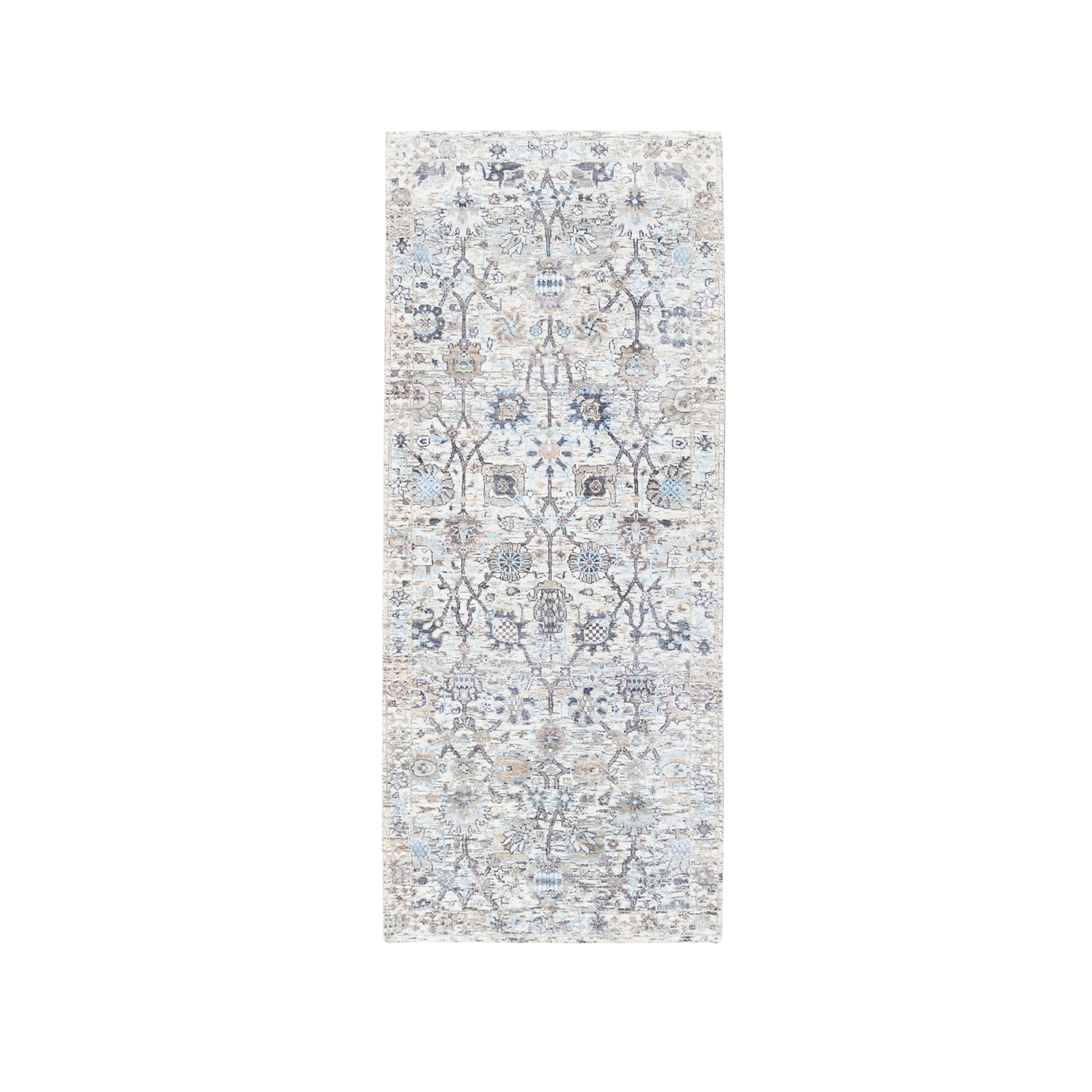 Transitional Hand Knotted Ivory Rug No: 1124600