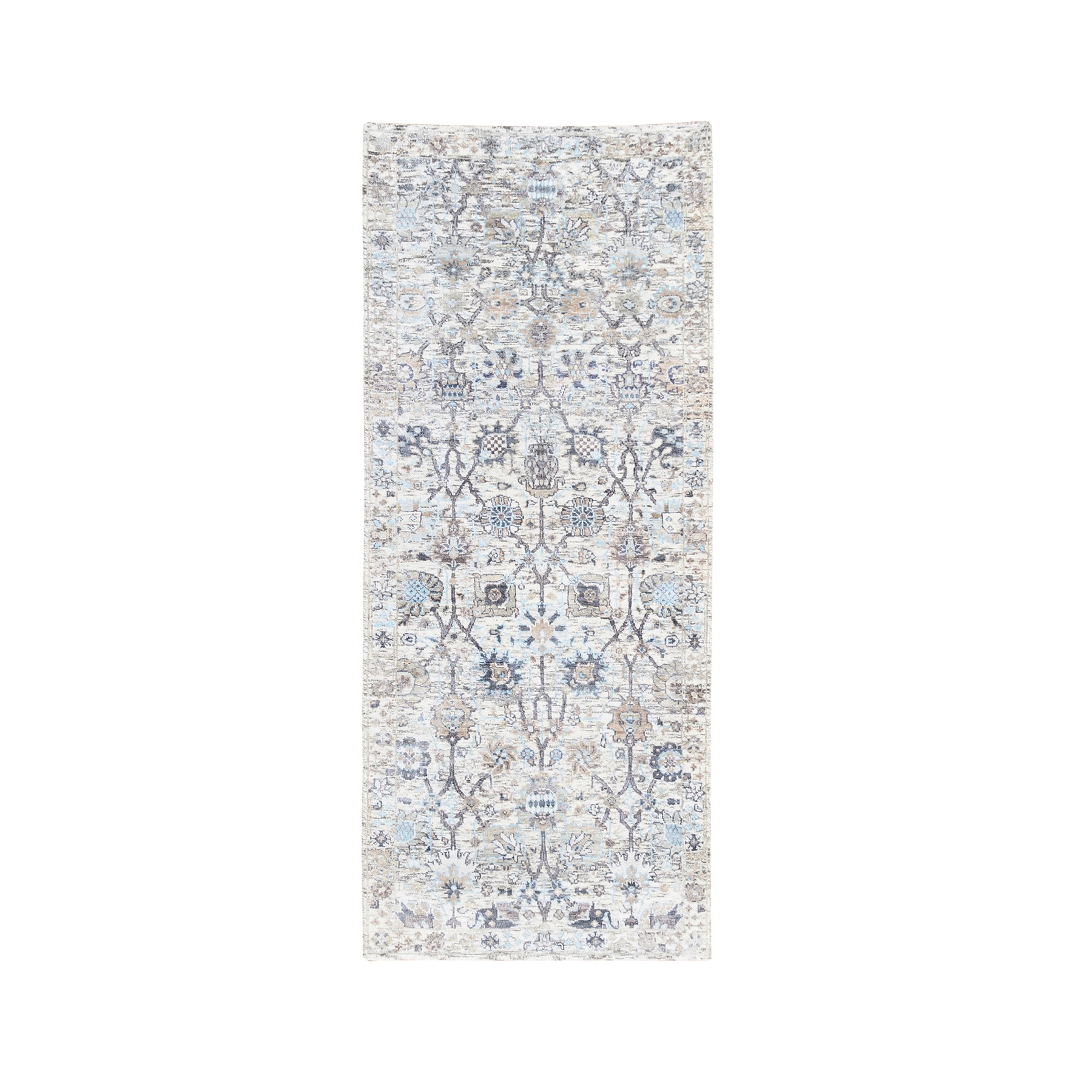 Transitional Hand Knotted Ivory Rug No: 1124582