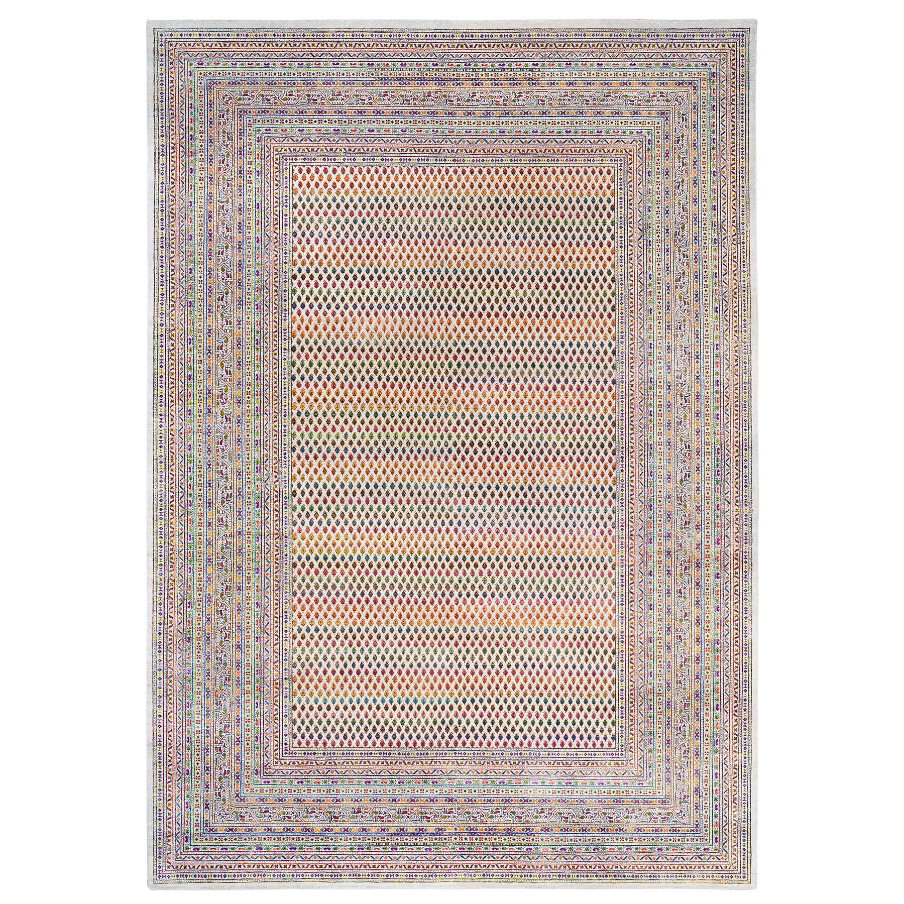 Mid Century Modern Collection Hand Knotted Beige Rug No: 1124616