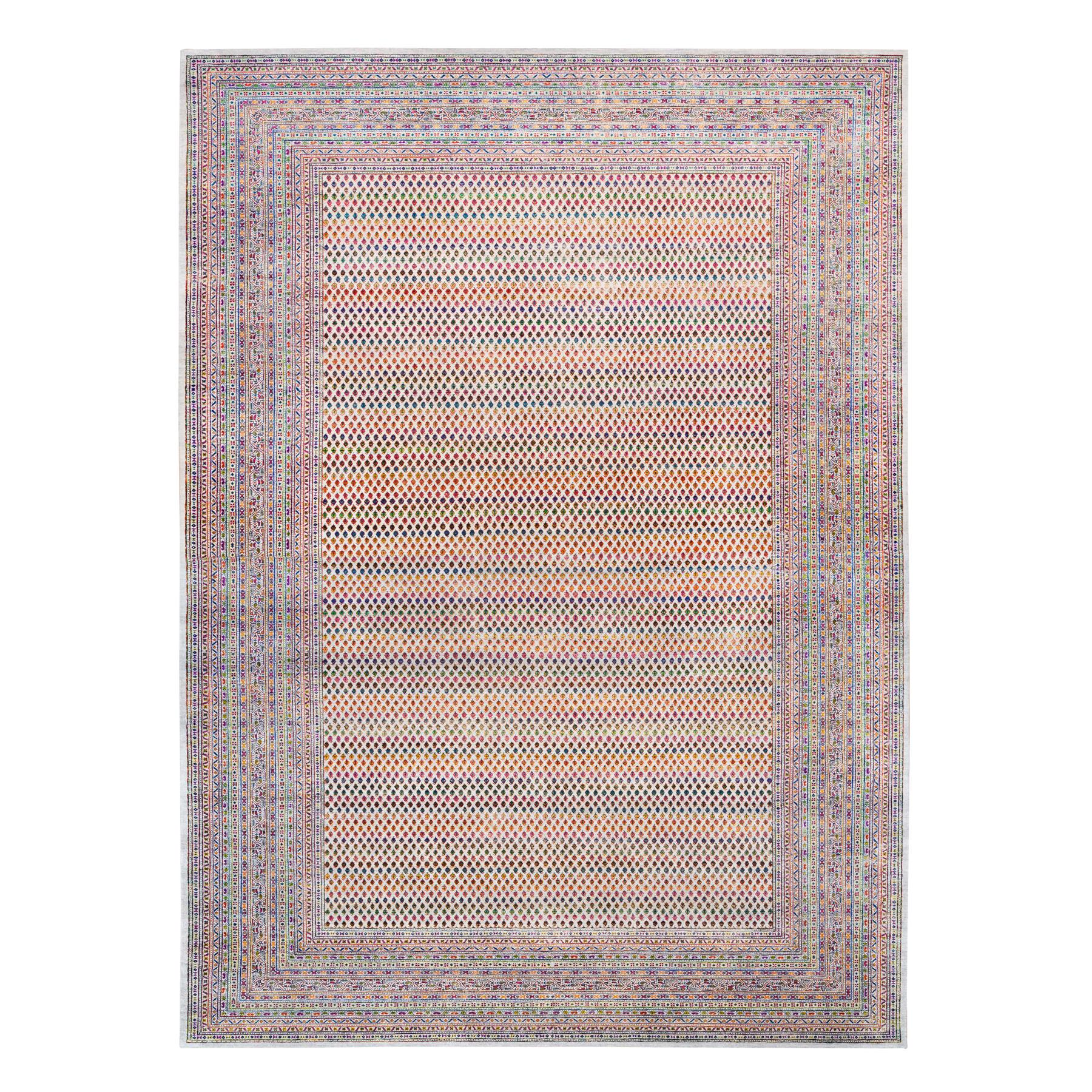 Mid Century Modern Collection Hand Knotted Beige Rug No: 1124624