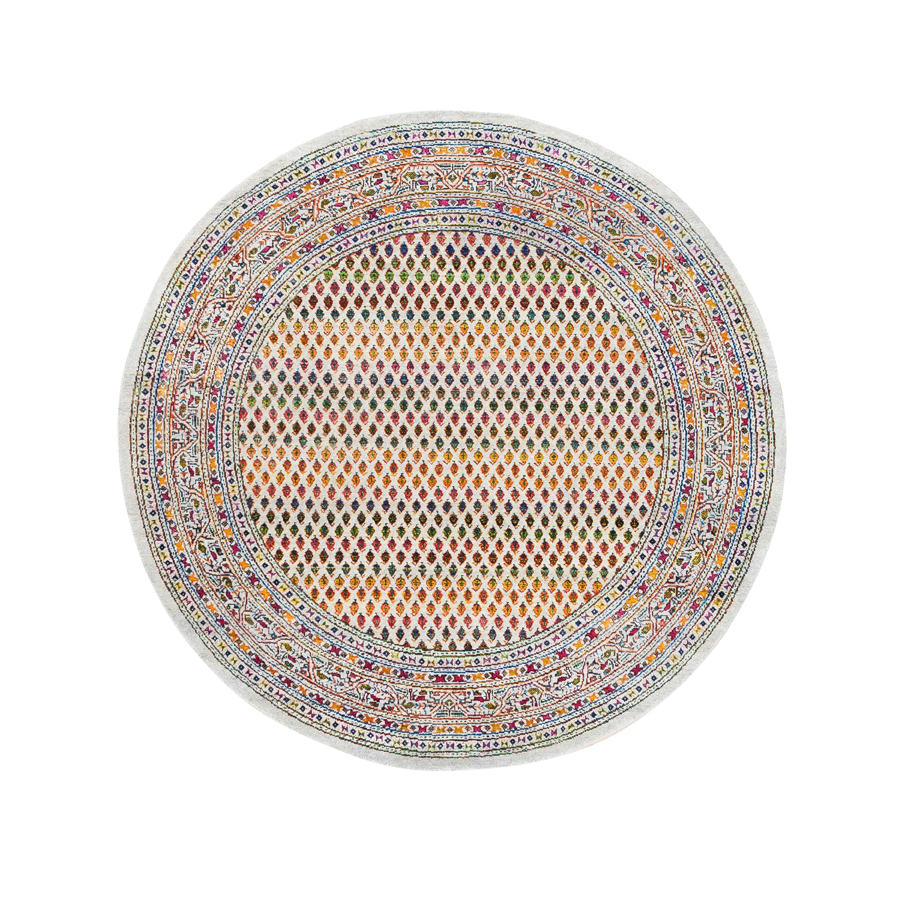 Mid Century Modern Collection Hand Knotted Beige Rug No: 1124658