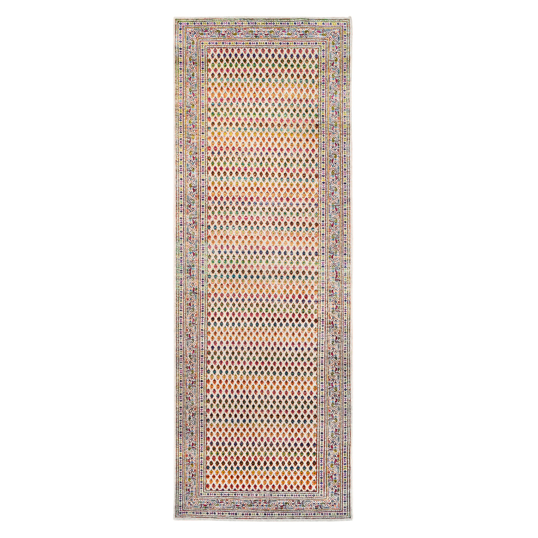 Mid Century Modern Collection Hand Knotted Beige Rug No: 1124664