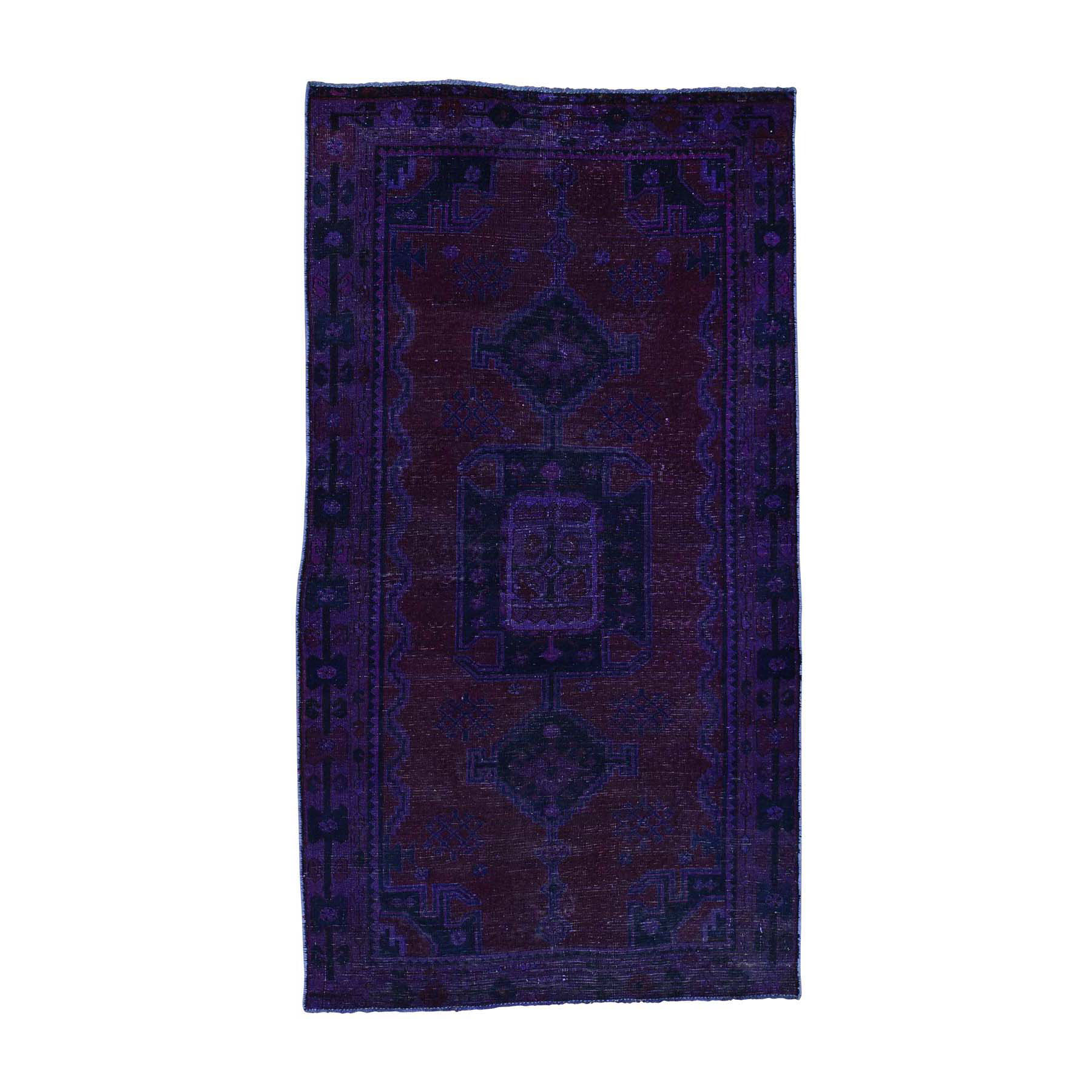 Fetneh Collection And Vintage Overdyed Collection Hand Knotted Purple Rug No: 0170138