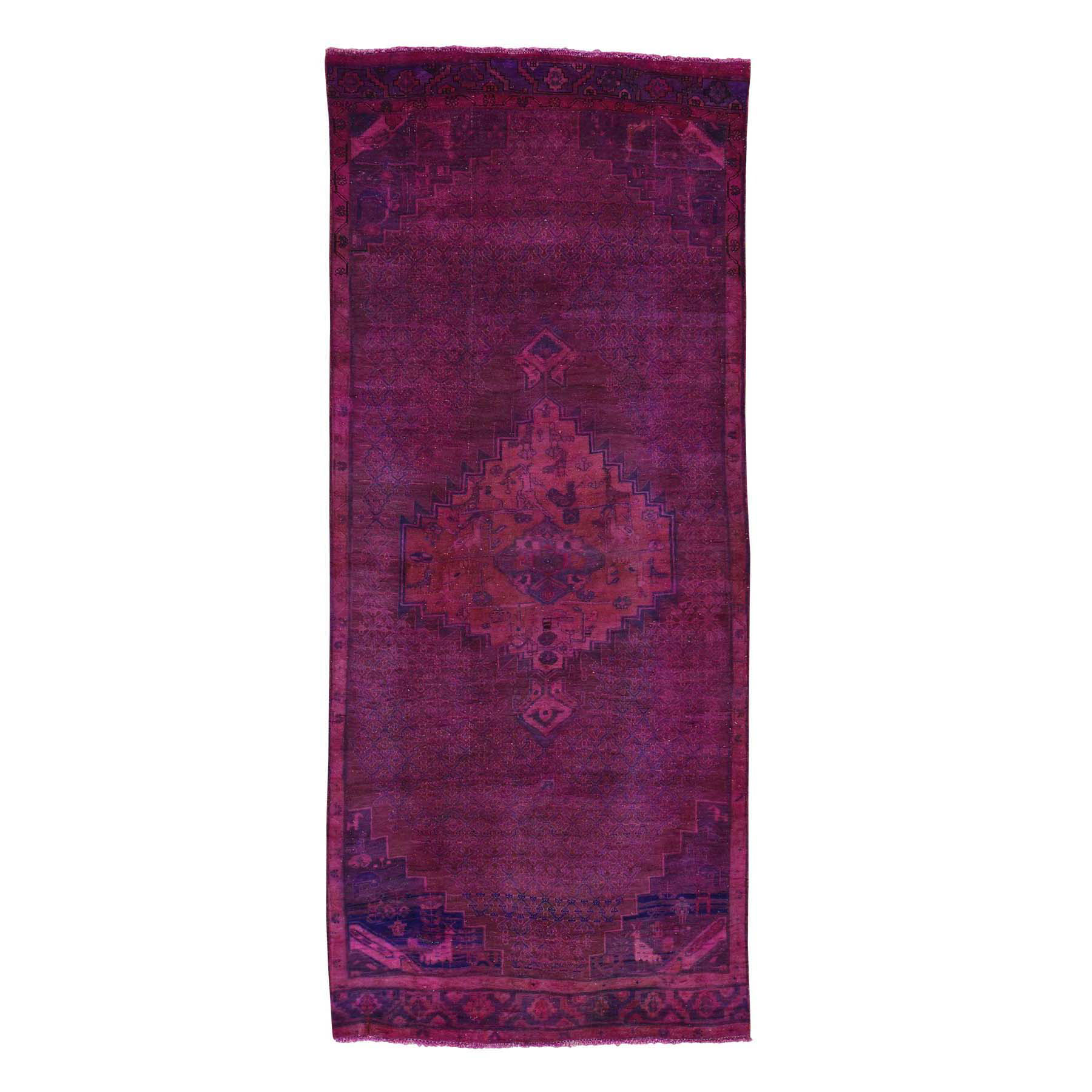 Fetneh Collection And Vintage Overdyed Collection Hand Knotted Purple Rug No: 0170302