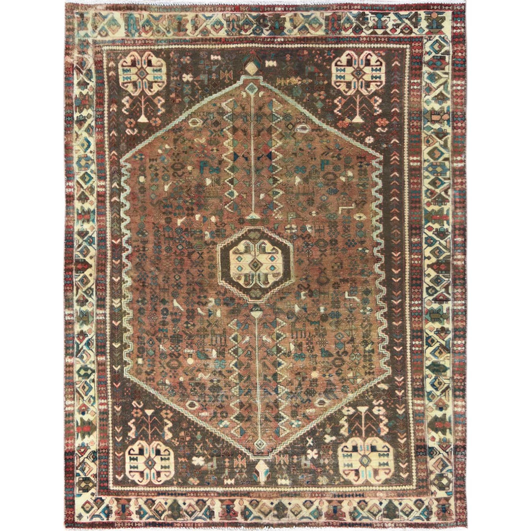Fetneh Collection And Vintage Overdyed Collection Hand Knotted Brown Rug No: 1121202