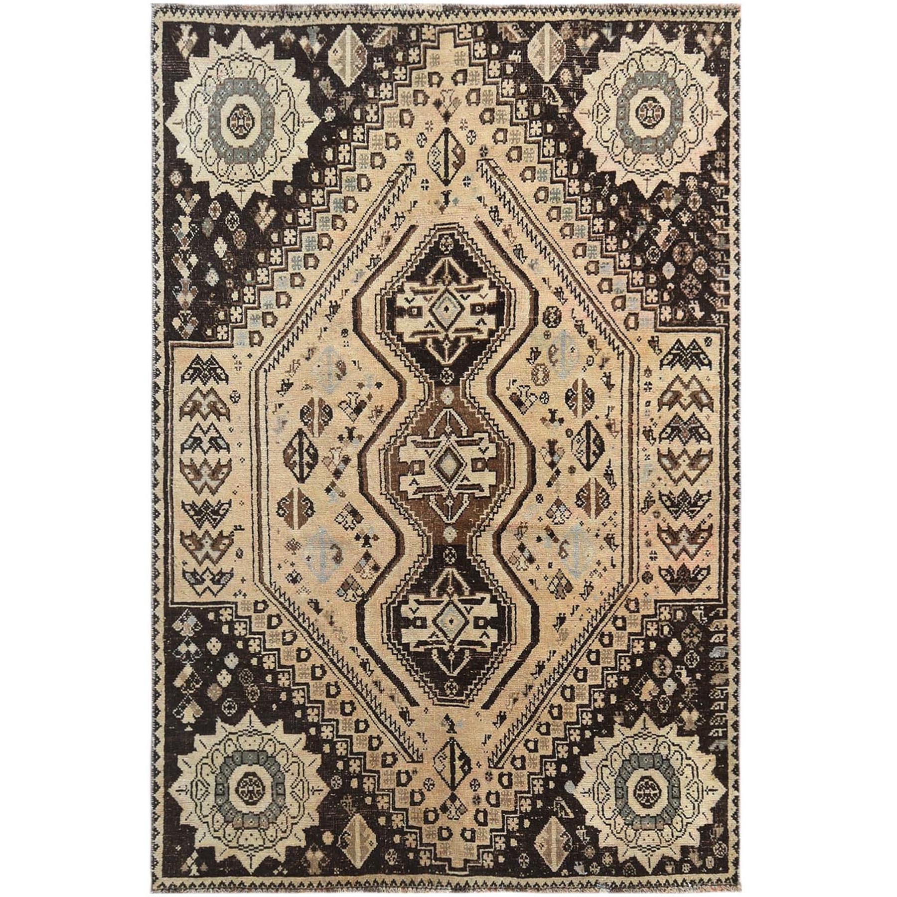 Fetneh Collection And Vintage Overdyed Collection Hand Knotted Beige Rug No: 1121218