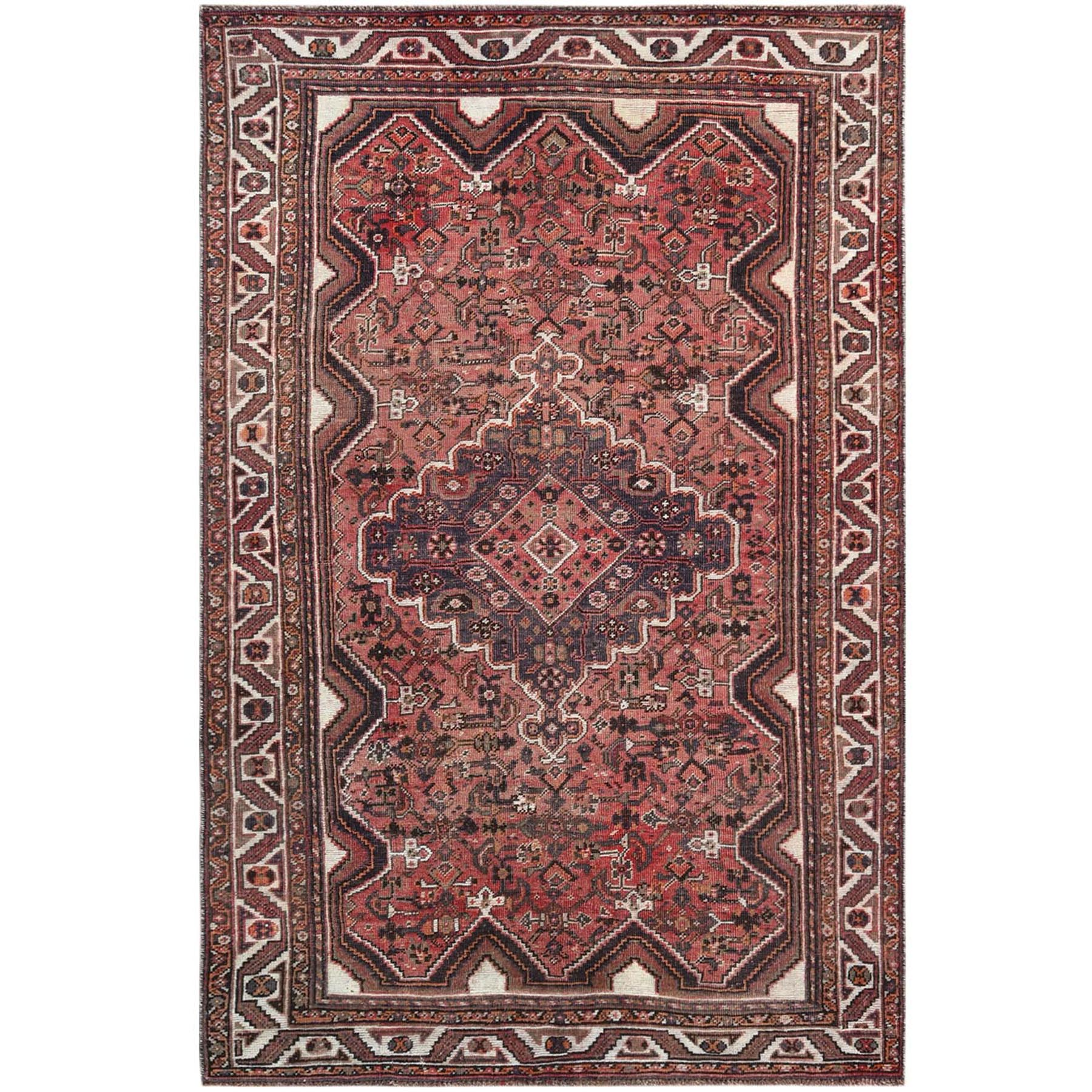 Fetneh Collection And Vintage Overdyed Collection Hand Knotted Red Rug No: 1121228
