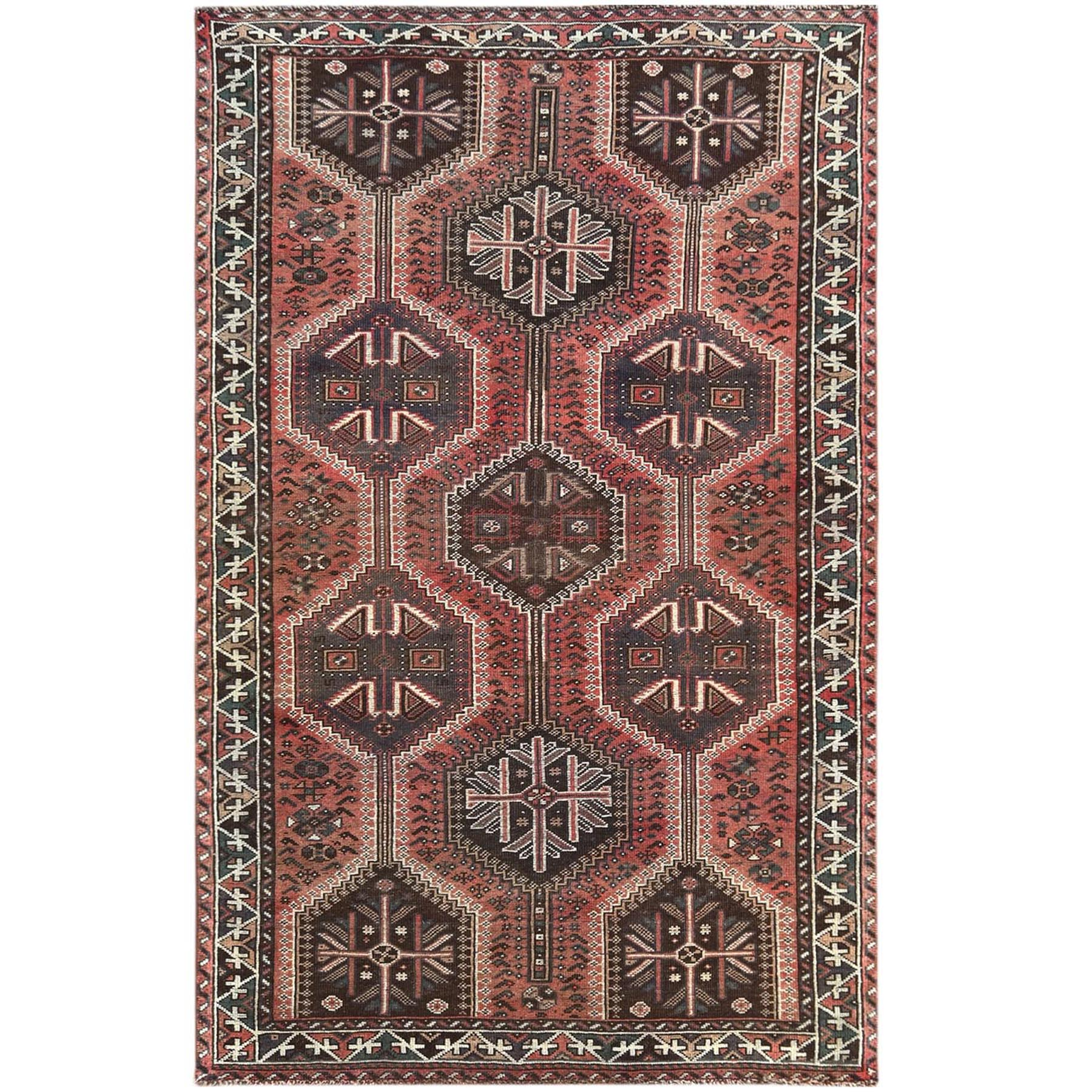 Fetneh Collection And Vintage Overdyed Collection Hand Knotted Red Rug No: 1121230