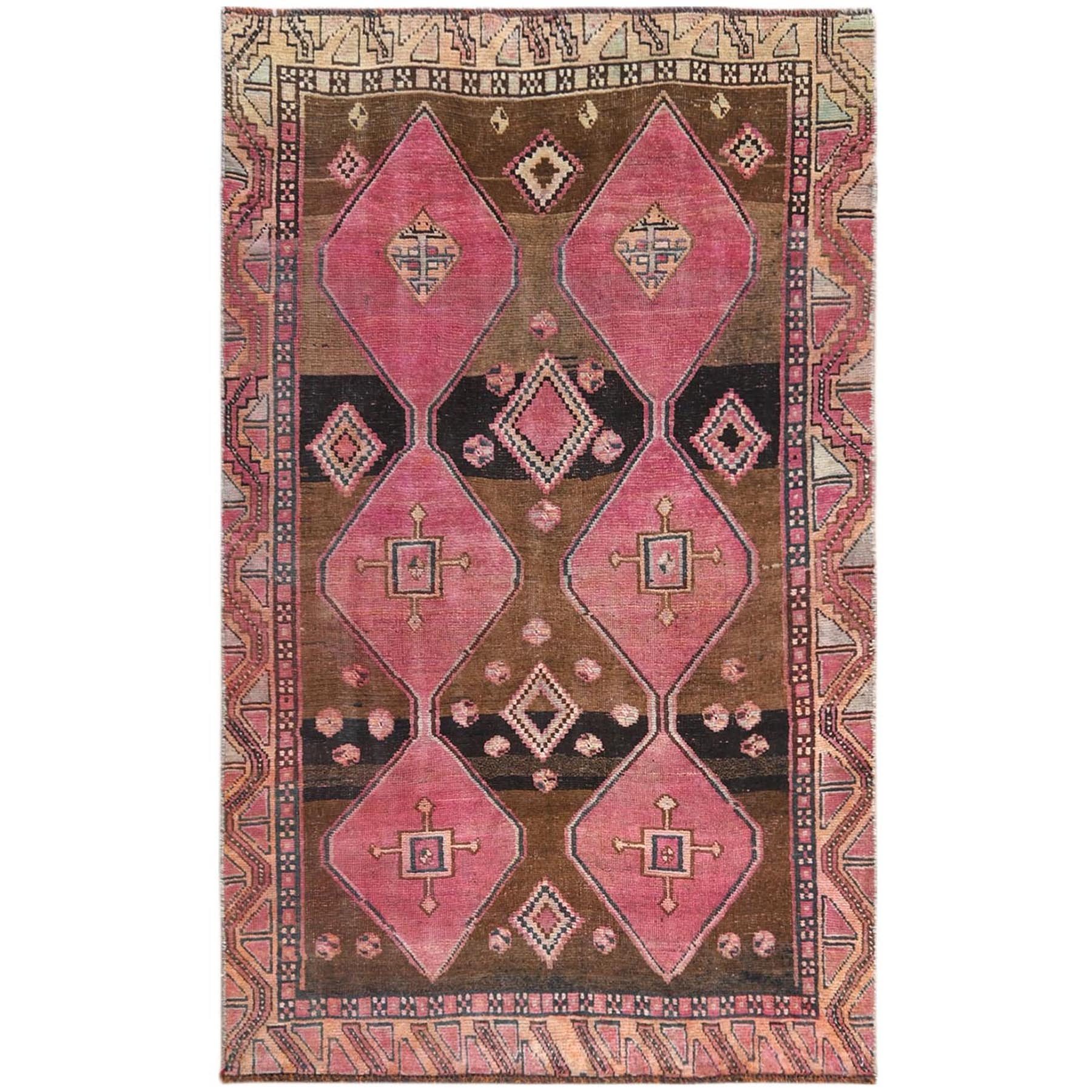 Fetneh Collection And Vintage Overdyed Collection Hand Knotted Brown Rug No: 1121238