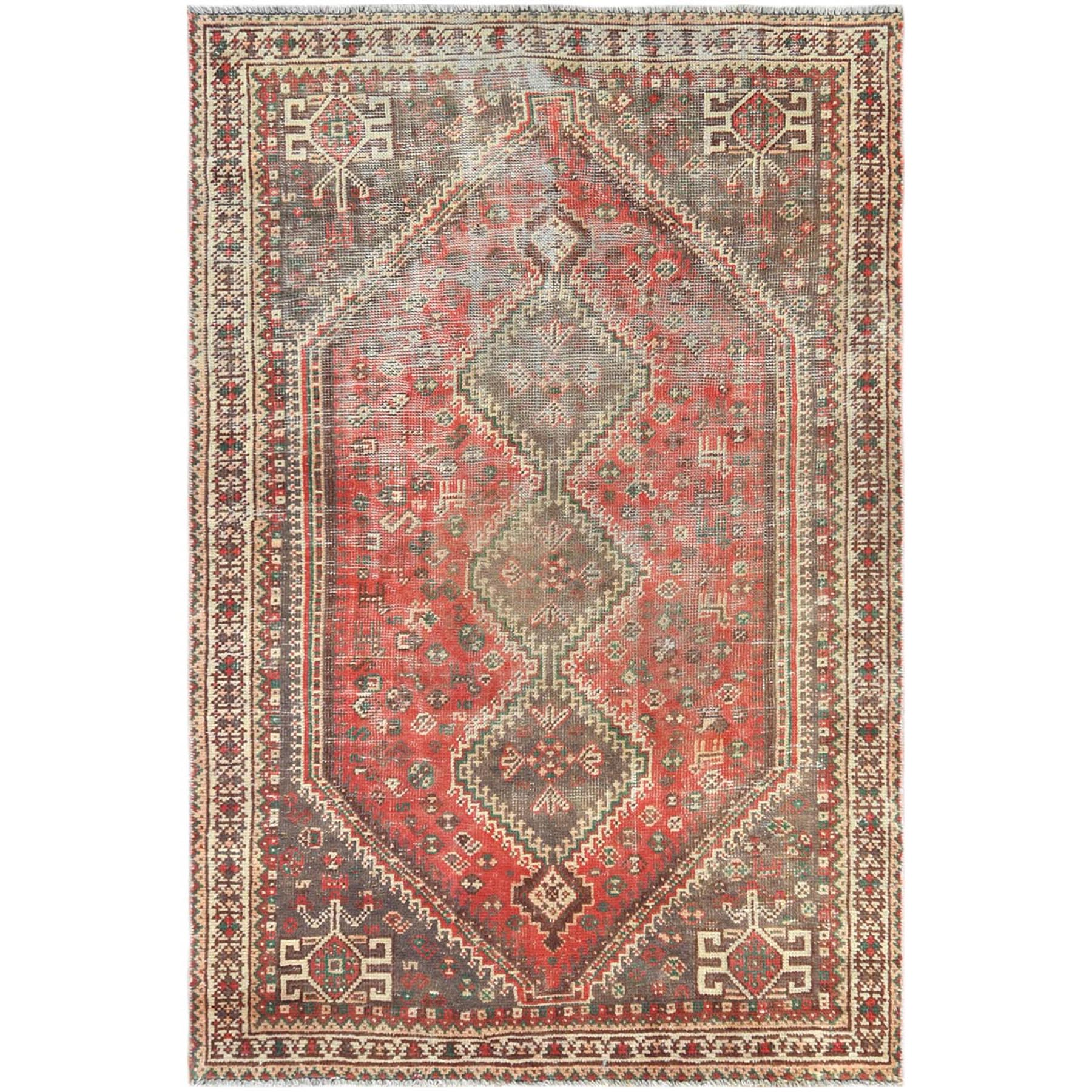 Fetneh Collection And Vintage Overdyed Collection Hand Knotted Red Rug No: 1121242