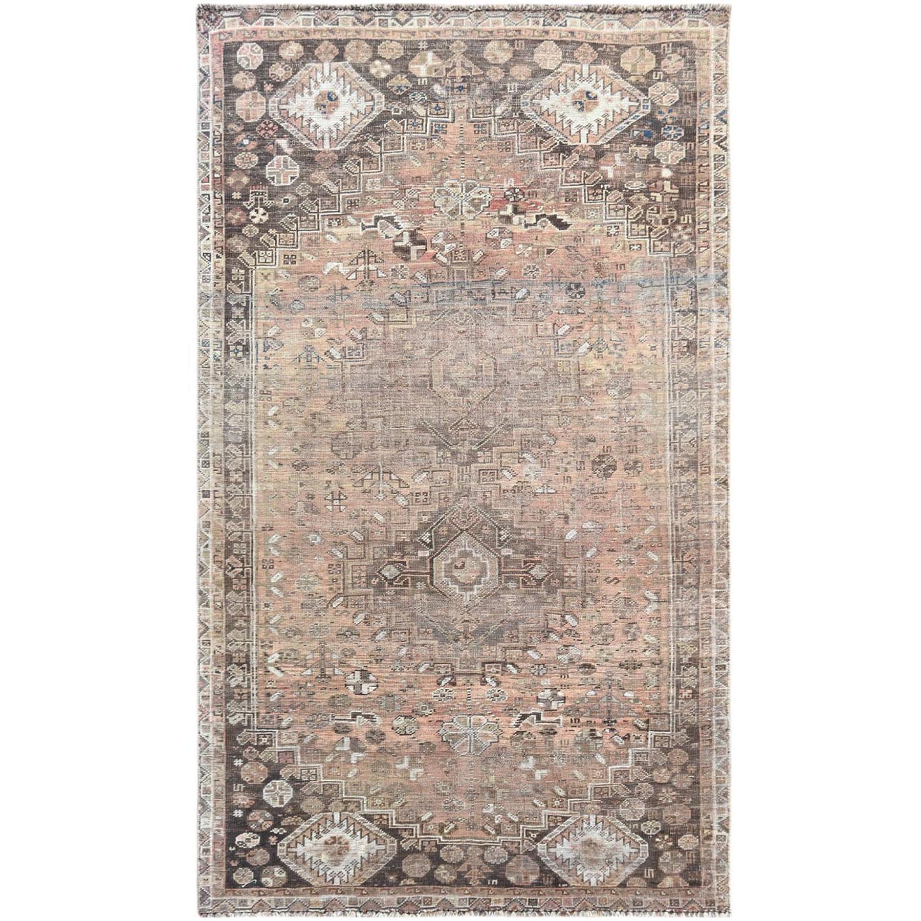 Fetneh Collection And Vintage Overdyed Collection Hand Knotted Brown Rug No: 1121244