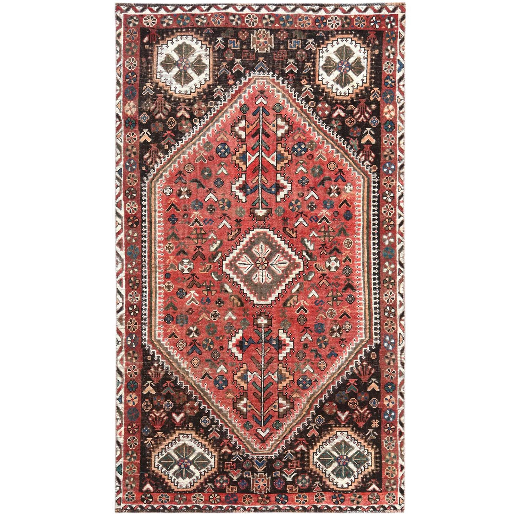 Fetneh Collection And Vintage Overdyed Collection Hand Knotted Red Rug No: 1121248