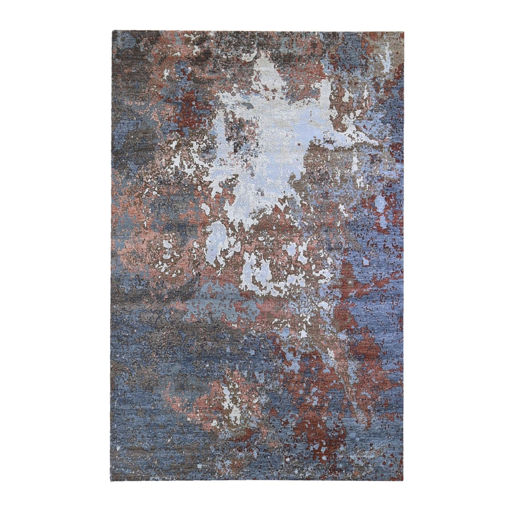 Mid Century Modern Collection Hand Knotted Brown Rug No: 1132814