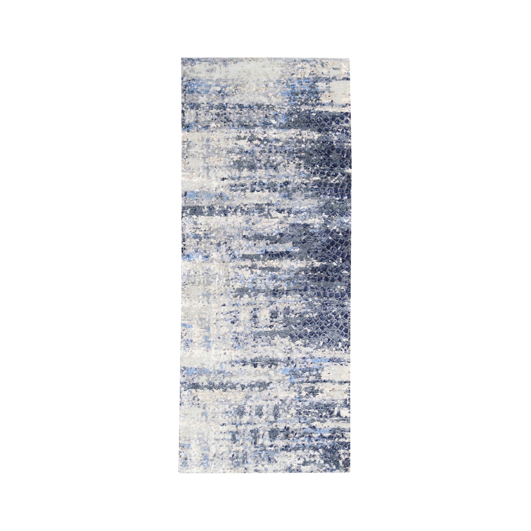 Mid Century Modern Collection Hand Knotted Blue Rug No: 1124526