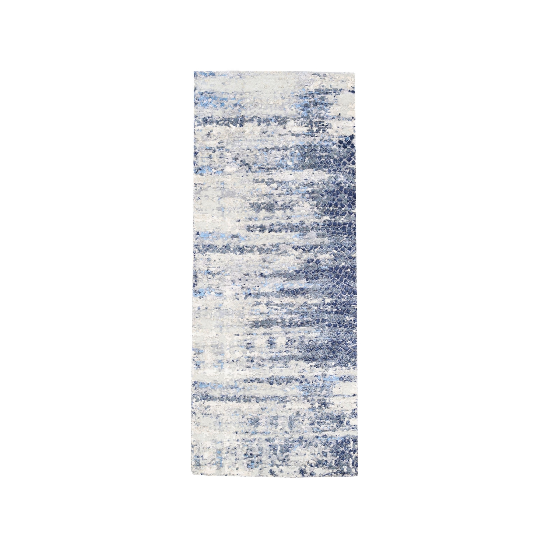 Mid Century Modern Collection Hand Knotted Blue Rug No: 1124528