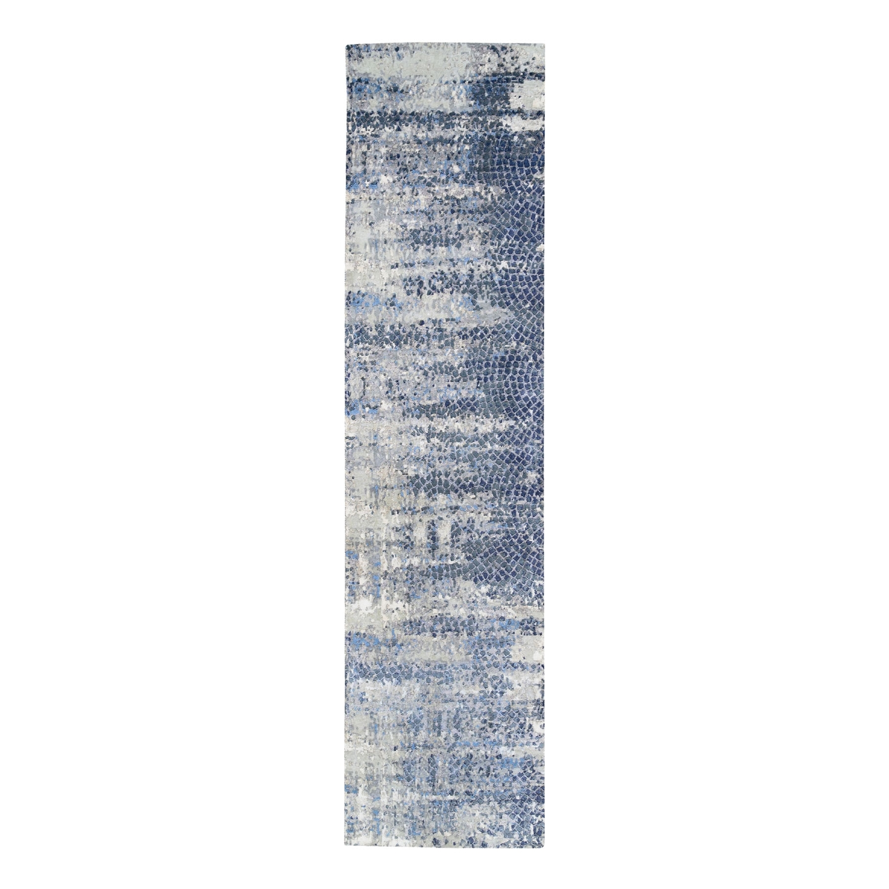 Mid Century Modern Collection Hand Knotted Blue Rug No: 1124524