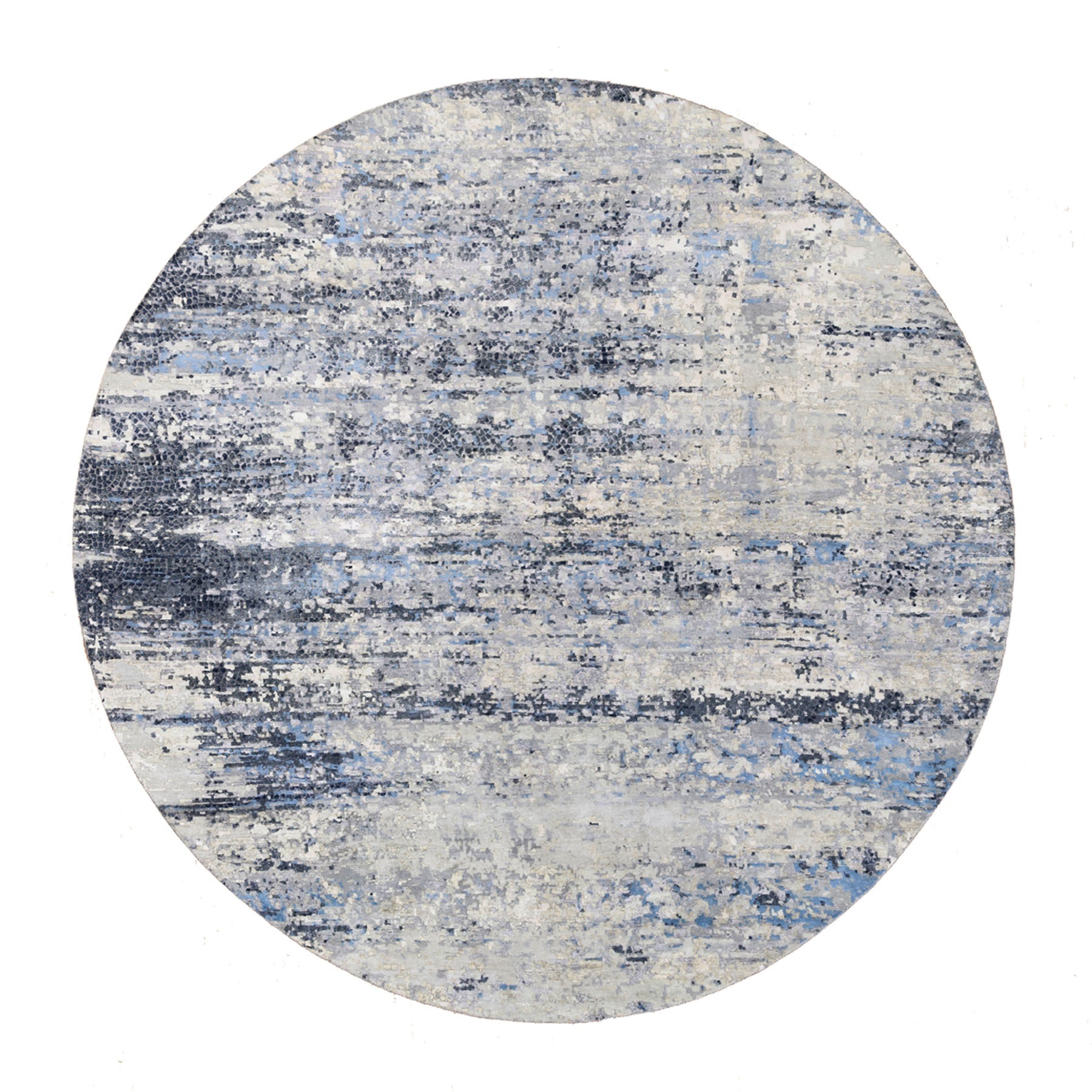 Mid Century Modern Collection Hand Knotted Blue Rug No: 1124532