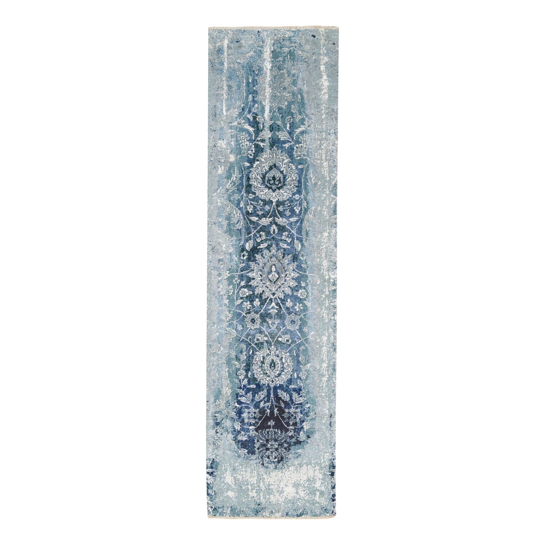 Transitional Hand Knotted Blue Rug No: 1124538
