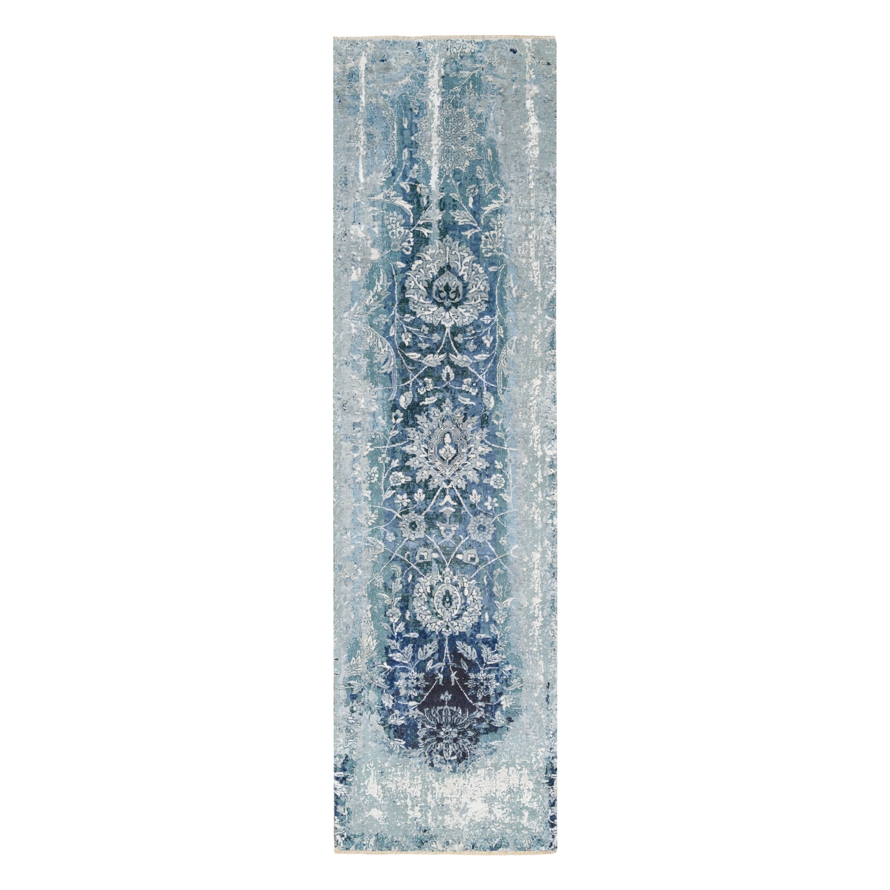 Transitional Hand Knotted Blue Rug No: 1124542