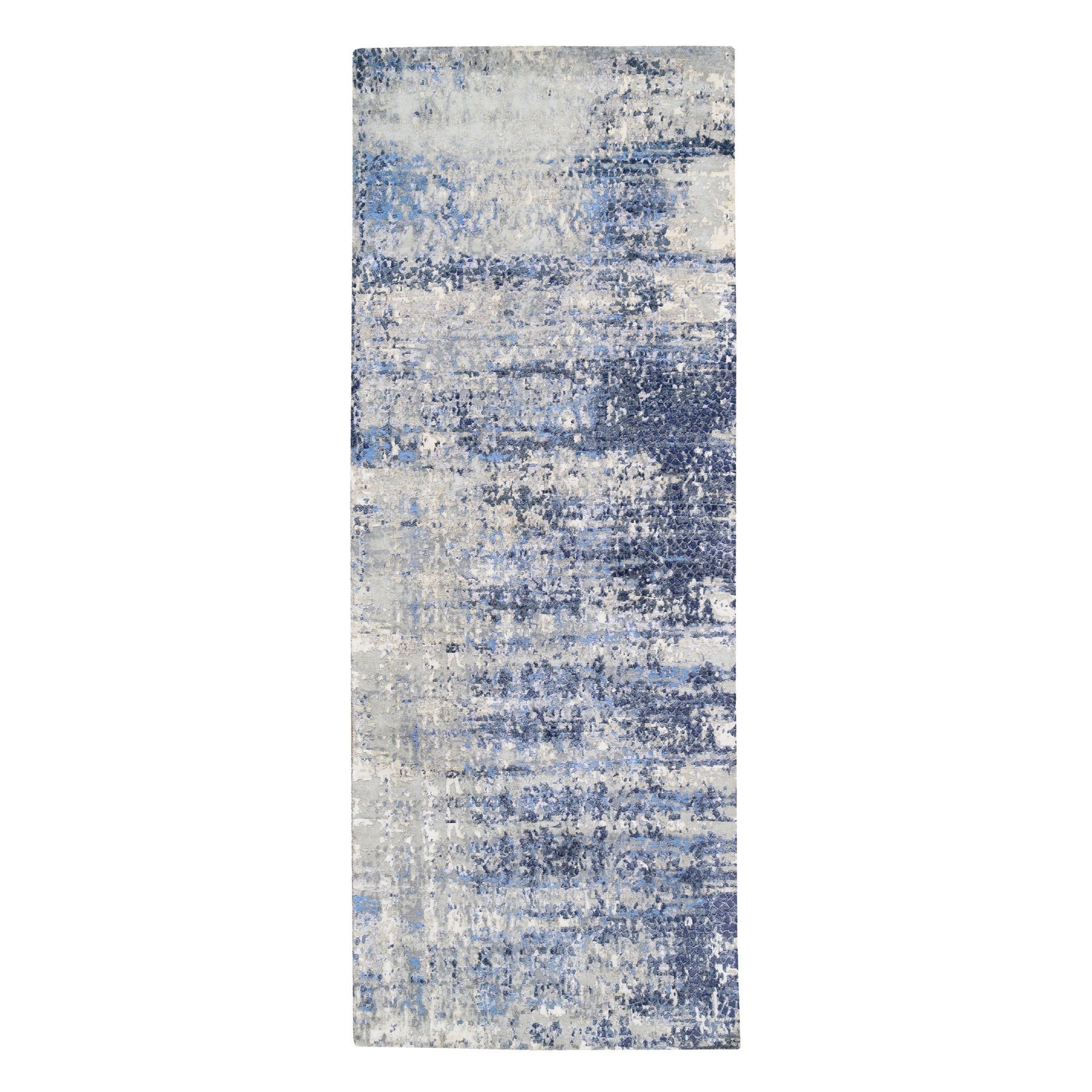 Mid Century Modern Collection Hand Knotted Blue Rug No: 1124520