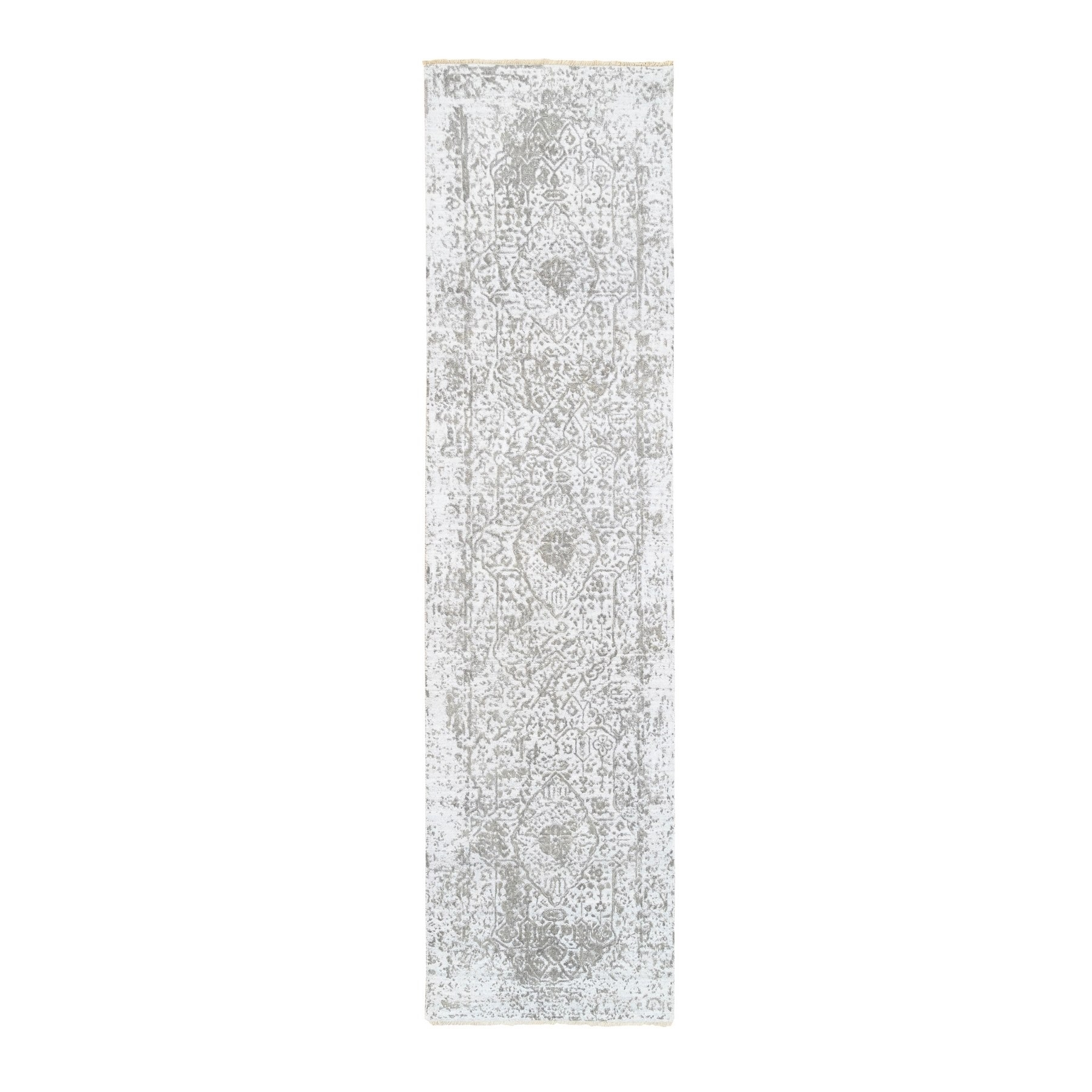 Transitional Hand Knotted Ivory Rug No: 1124728