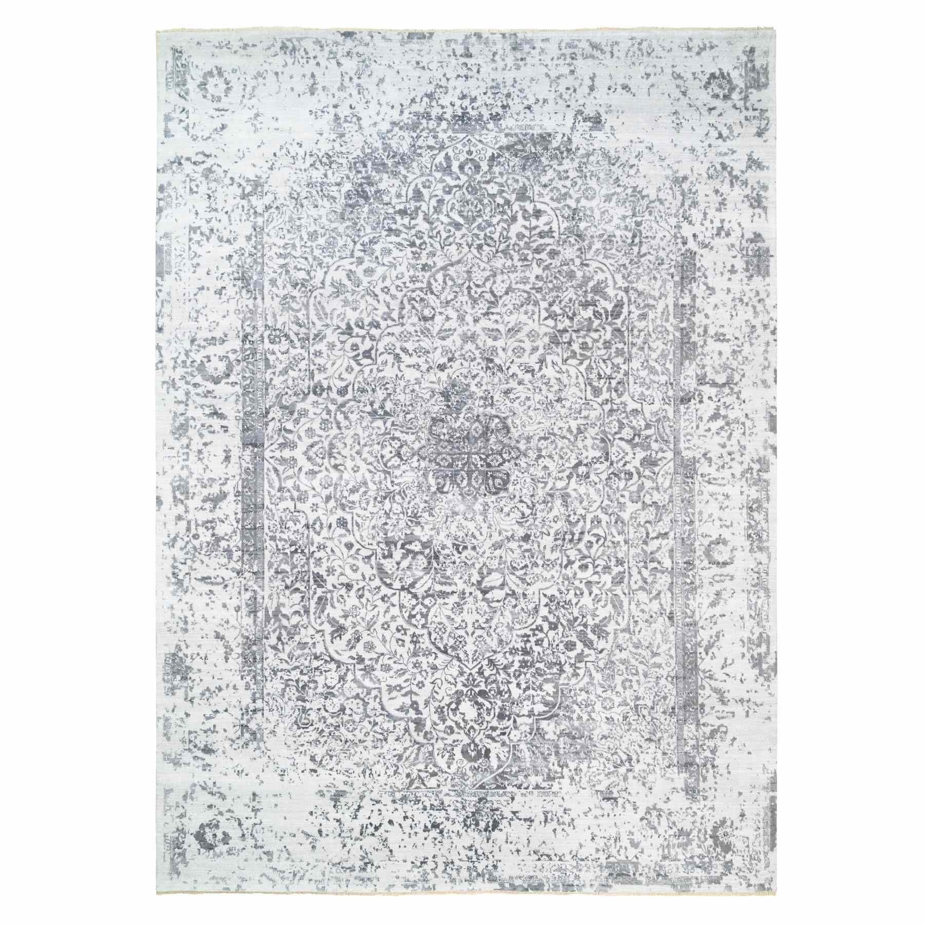 Transitional Hand Knotted Ivory Rug No: 1124732