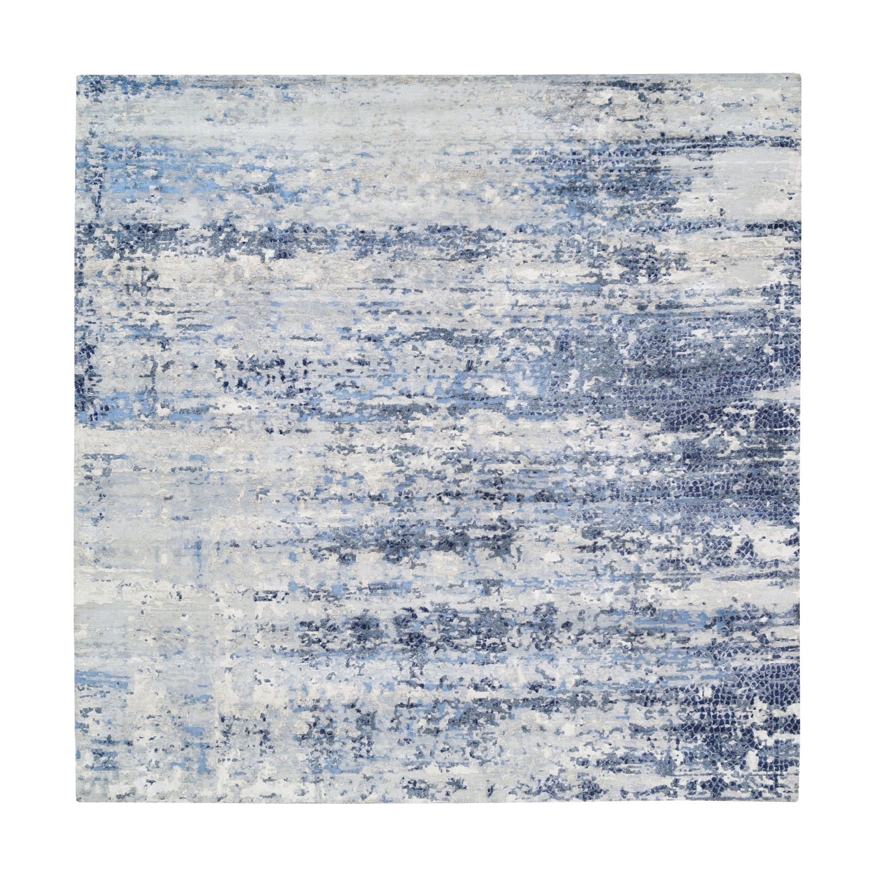 Mid Century Modern Collection Hand Knotted Blue Rug No: 1124530