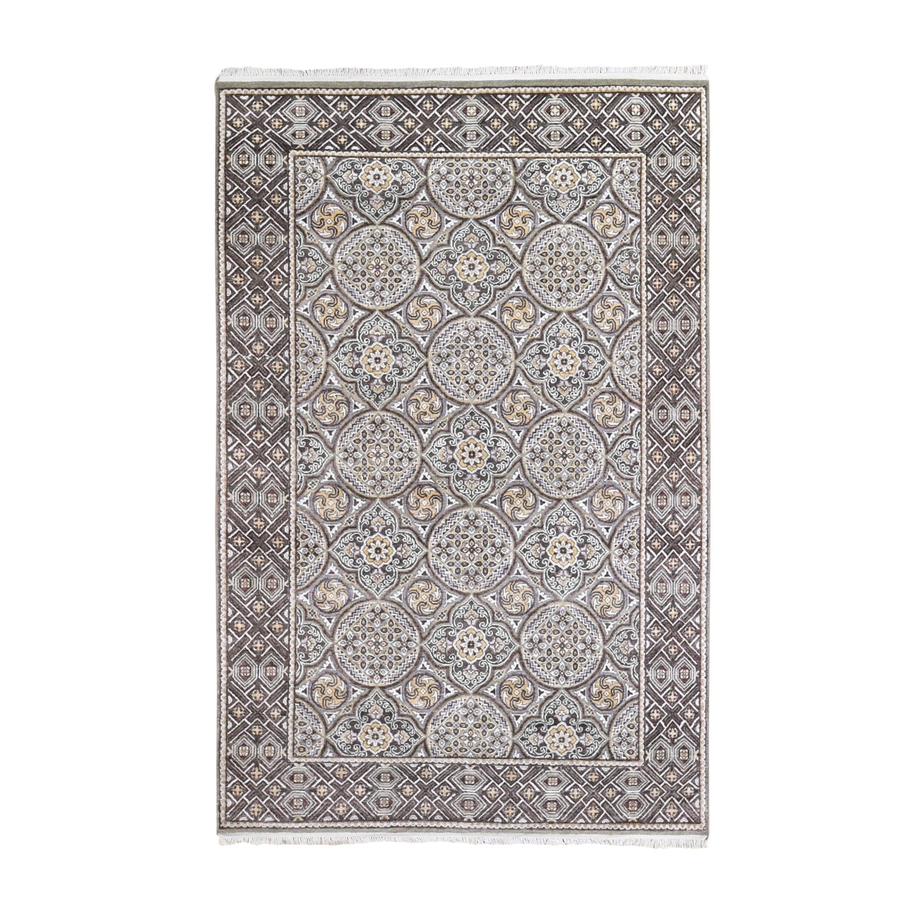 Transitional Hand Knotted Brown Rug No: 1132704