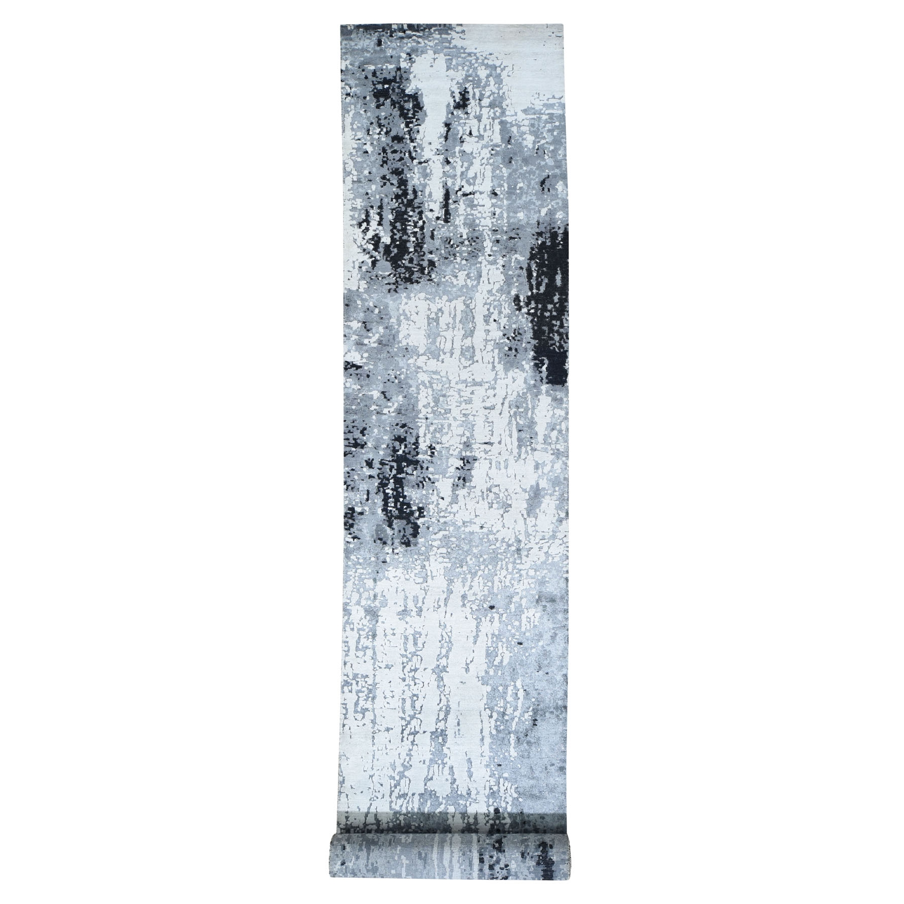 Mid Century Modern Collection Hand Knotted Grey Rug No: 195628