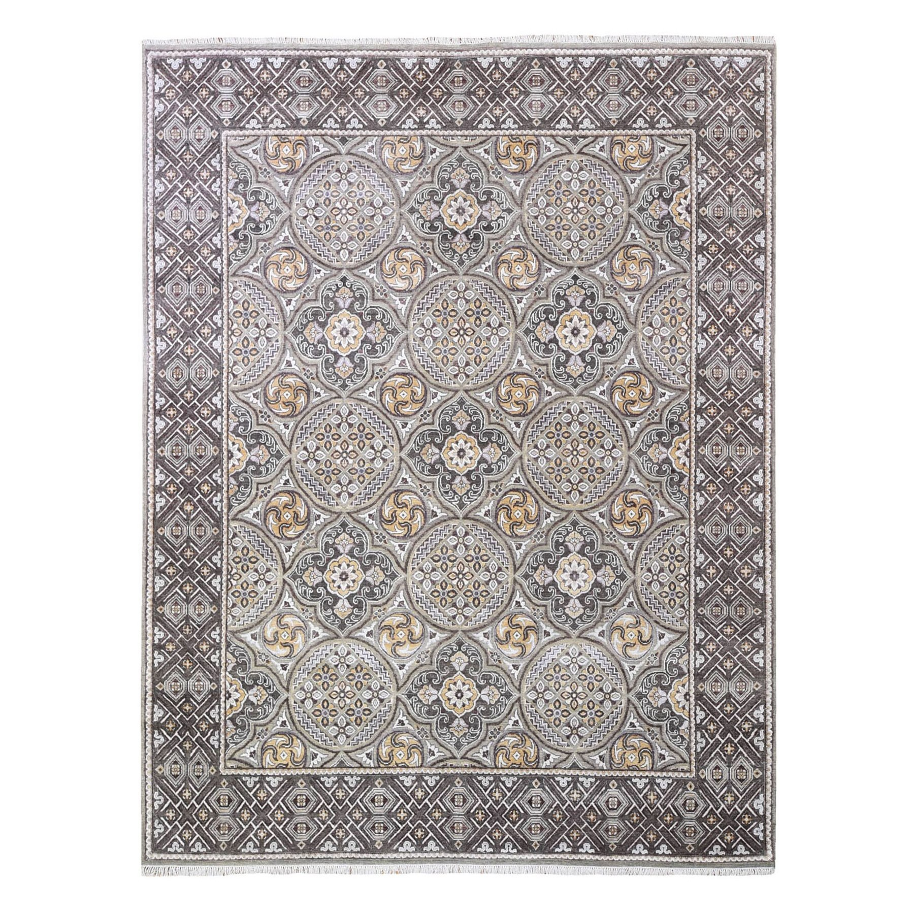 Transitional Hand Knotted Brown Rug No: 1132726