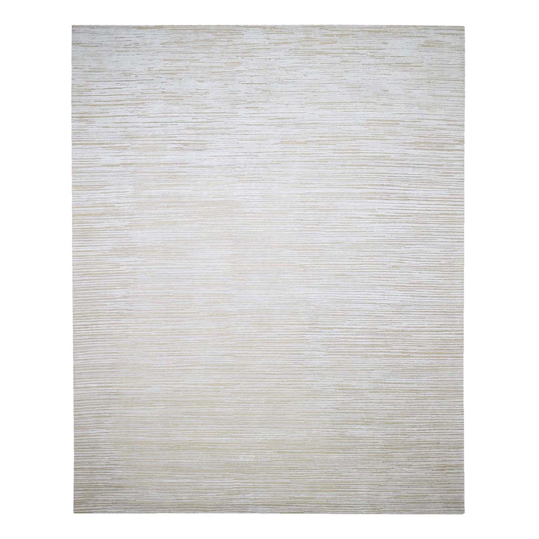 Mid Century Modern Collection Hand Knotted Ivory Rug No: 1132734