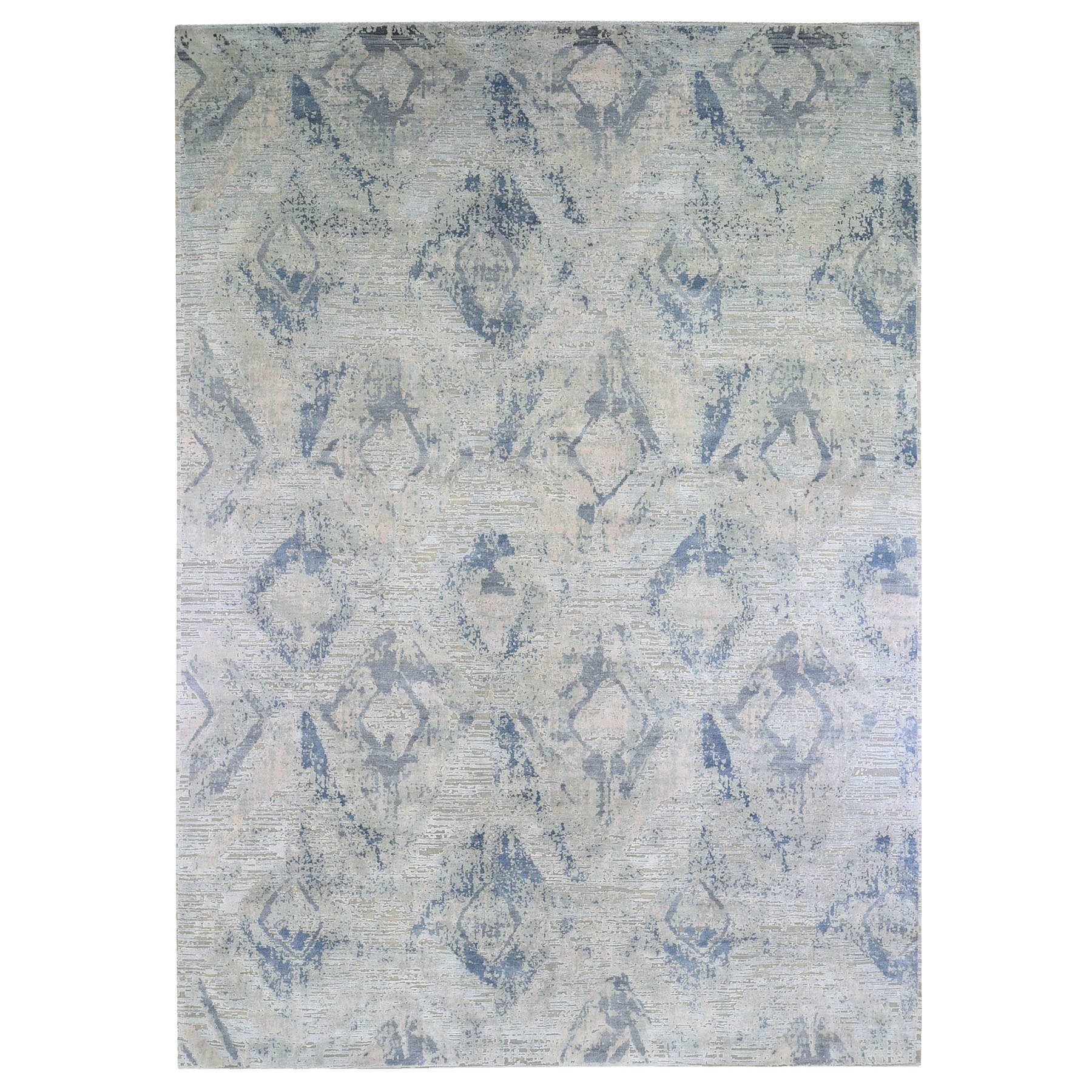 Wool and Real Silk Collection Hand Knotted Ivory Rug No: 1132886