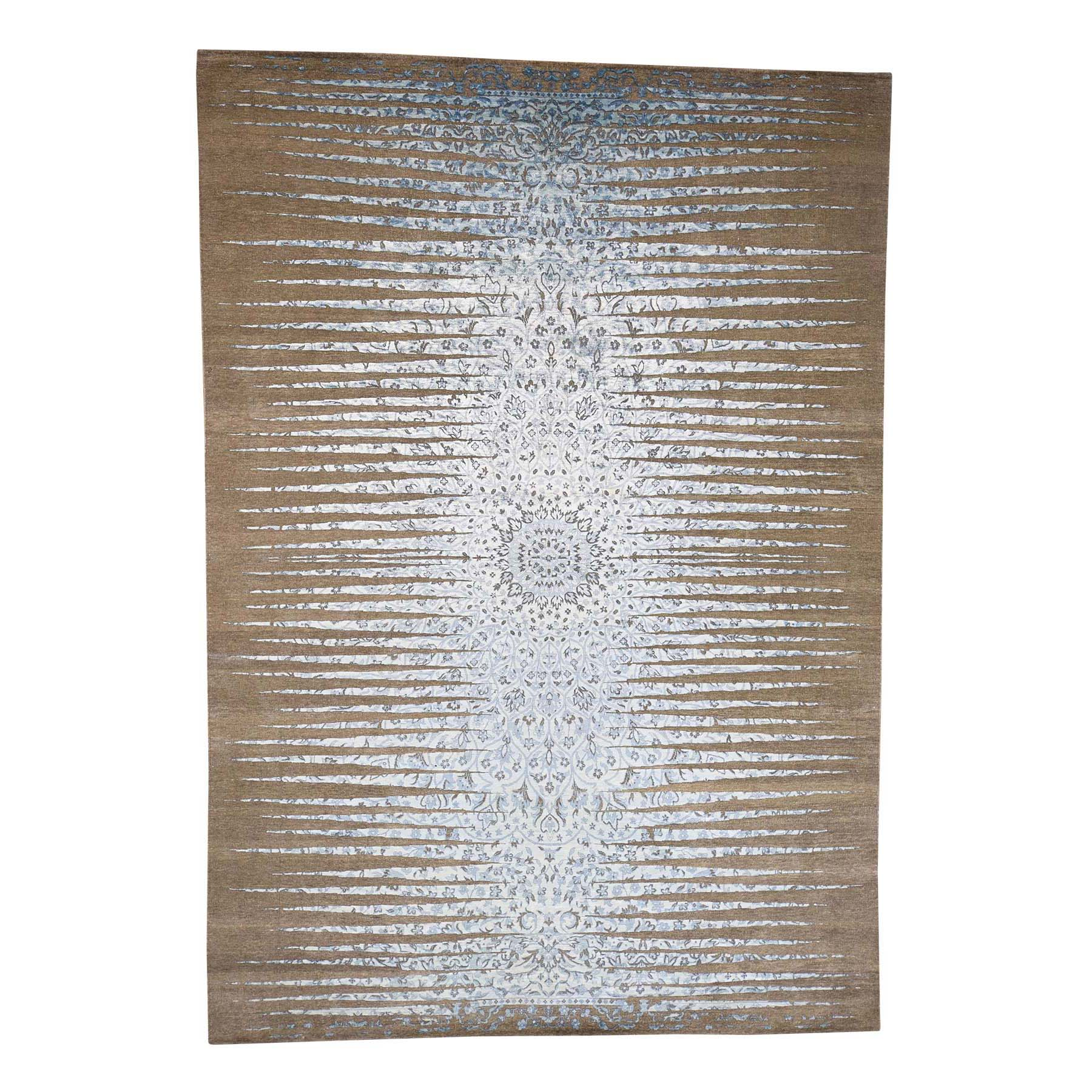 Mid Century Modern Collection Hand Knotted Brown Rug No: 0181180