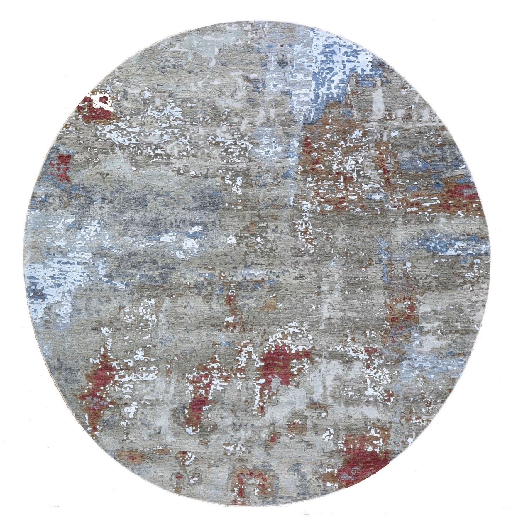 Mid Century Modern Collection Hand Knotted Grey Rug No: 1132806