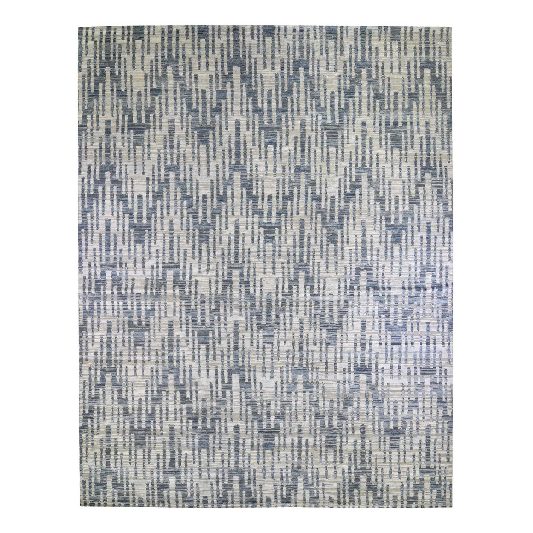 Mid Century Modern Collection Hand Knotted Blue Rug No: 1132778