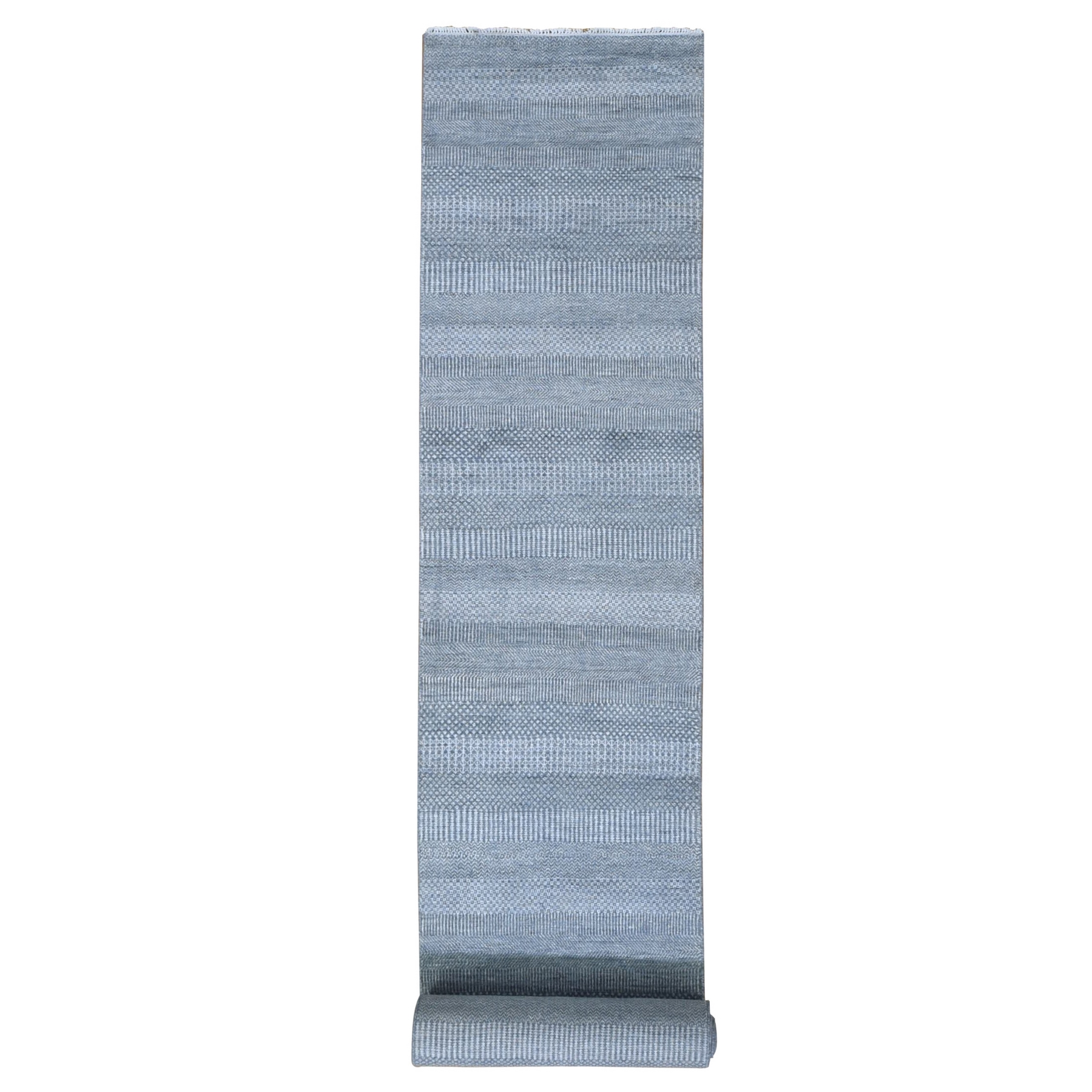 Mid Century Modern Collection Hand Knotted Grey Rug No: 1132388