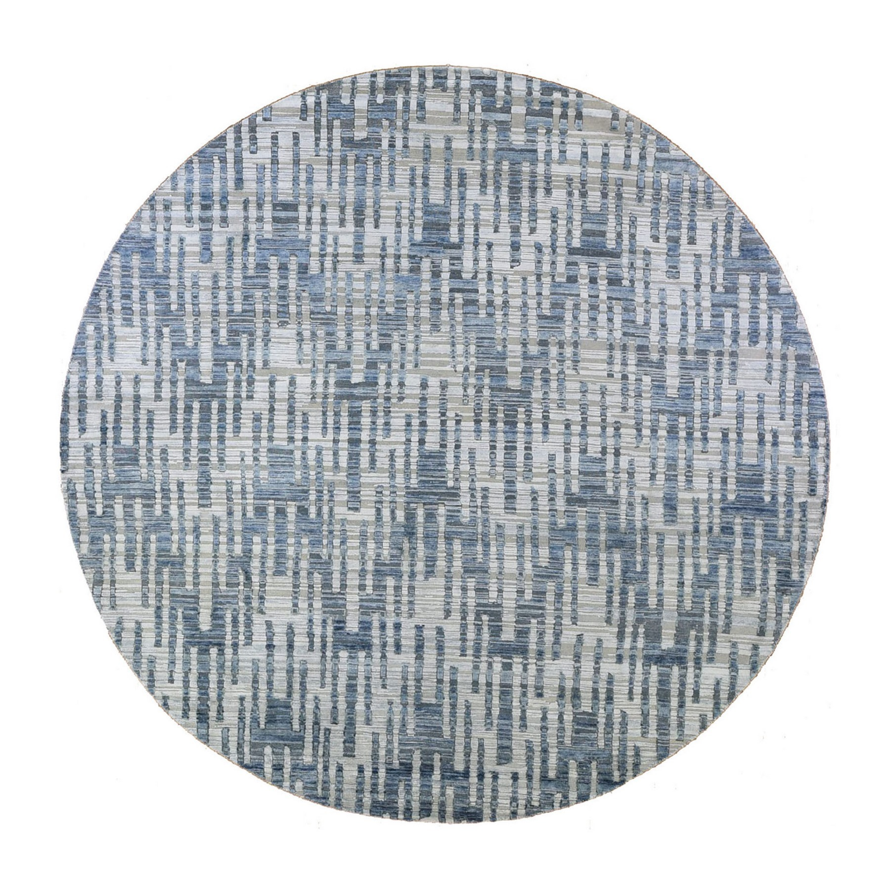 Mid Century Modern Collection Hand Knotted Blue Rug No: 1132930