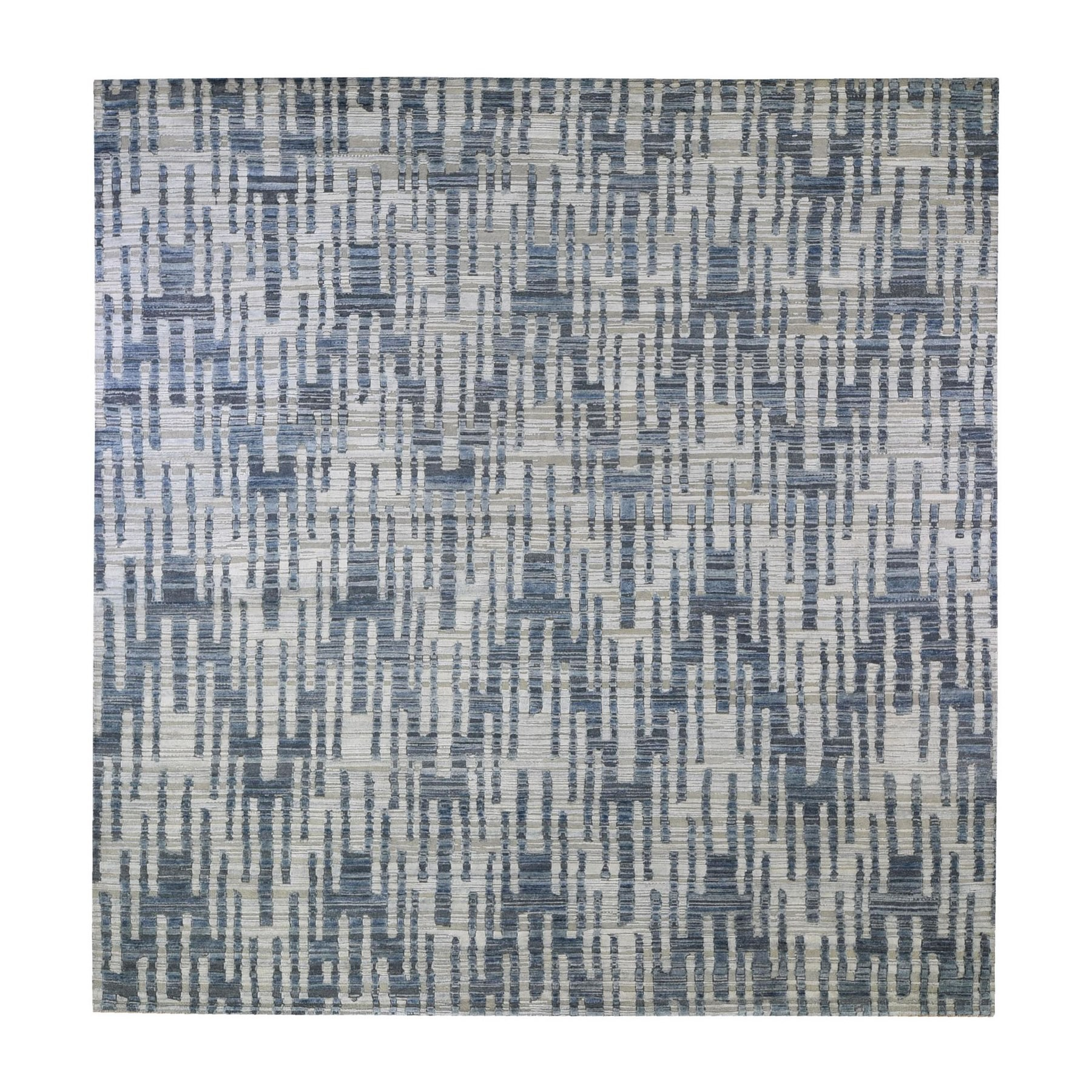 Mid Century Modern Collection Hand Knotted Blue Rug No: 1132800