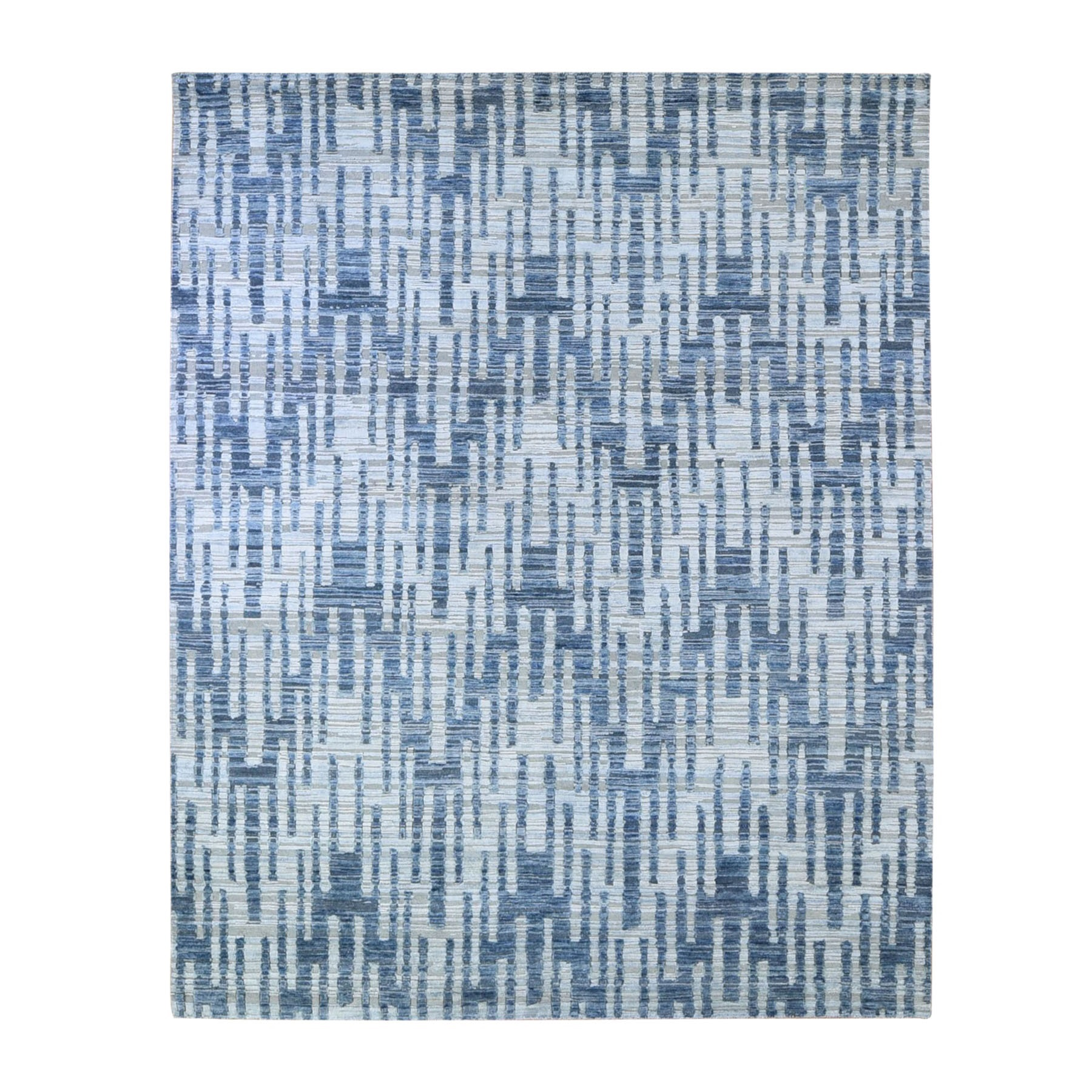 Mid Century Modern Collection Hand Knotted Blue Rug No: 1132754