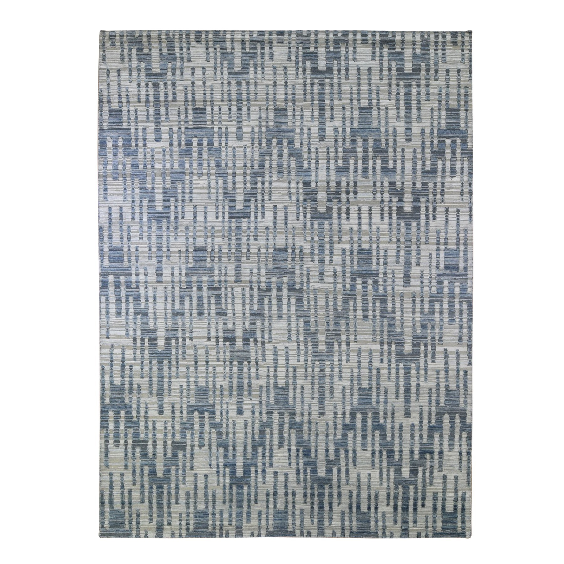 Mid Century Modern Collection Hand Knotted Blue Rug No: 1132942
