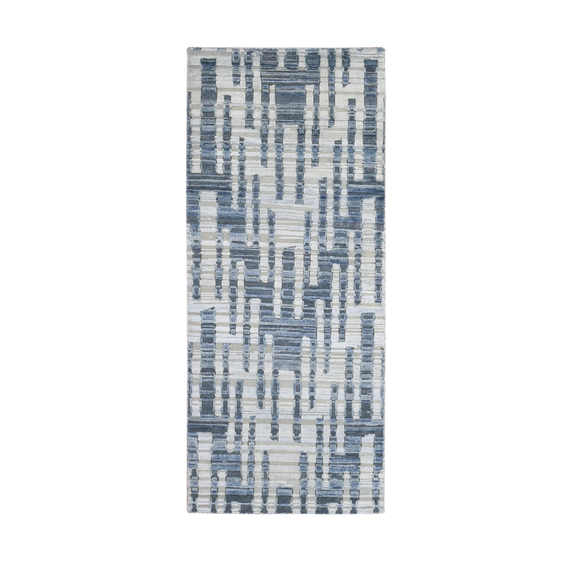 Mid Century Modern Collection Hand Knotted Blue Rug No: 1133022
