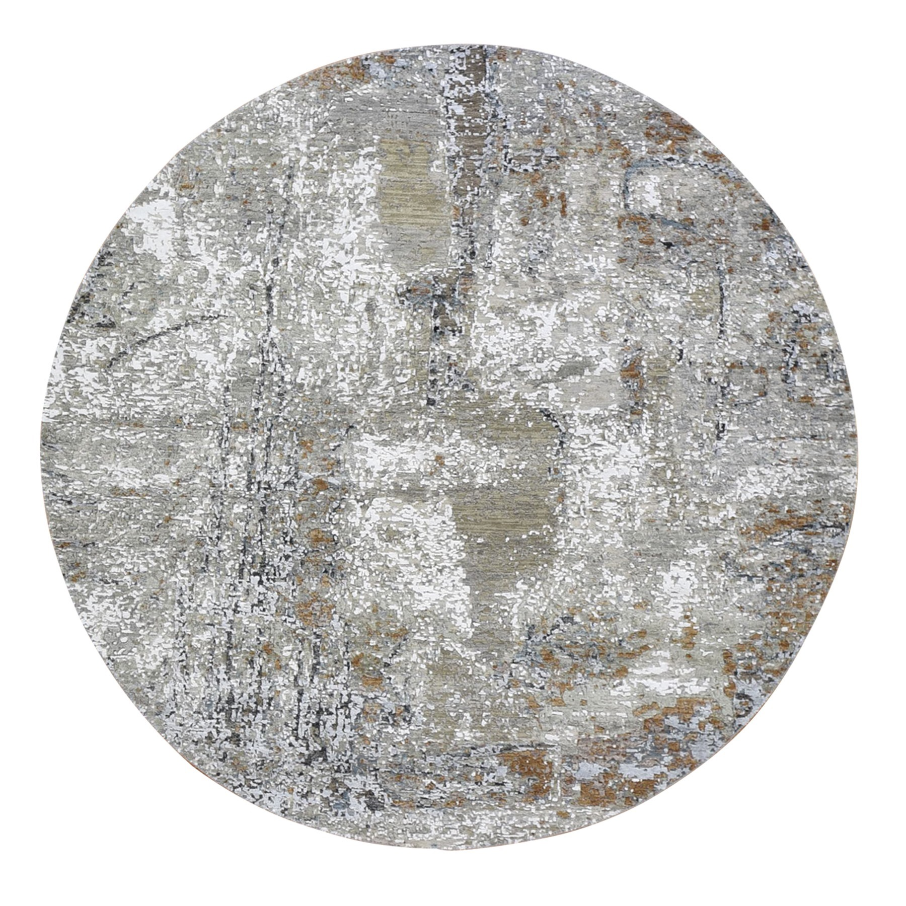 Mid Century Modern Collection Hand Knotted Grey Rug No: 1132868