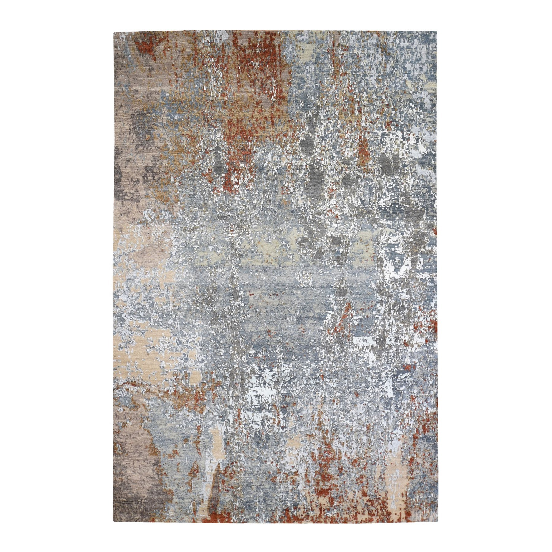 Mid Century Modern Collection Hand Knotted Blue Rug No: 1132870
