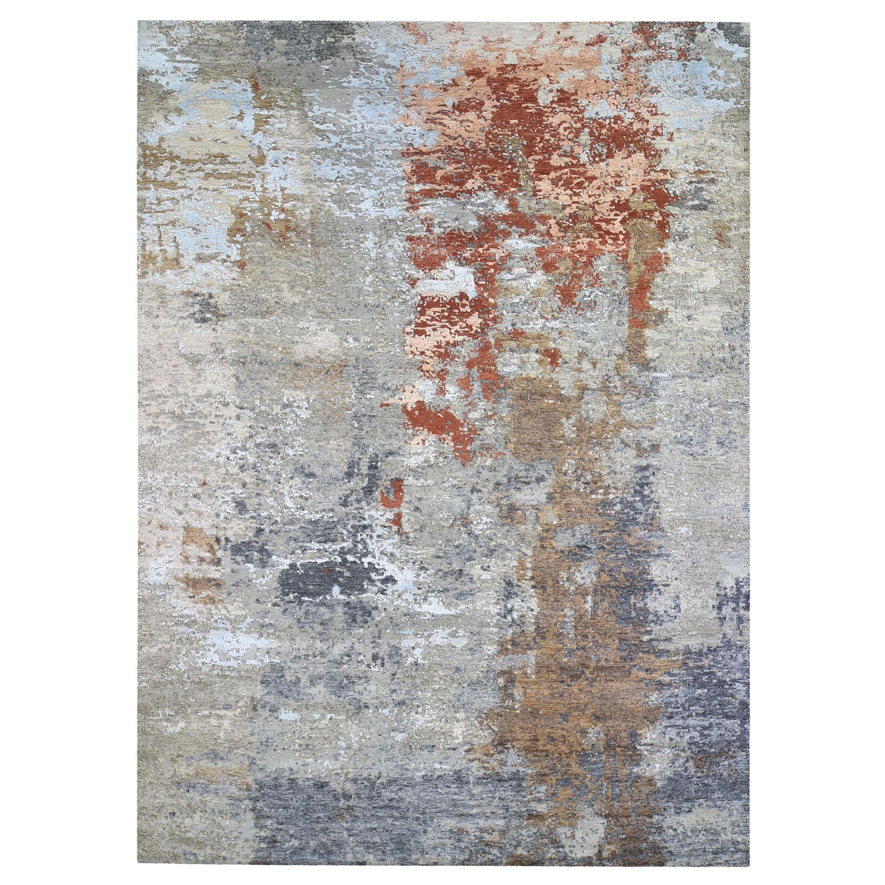 Mid Century Modern Collection Hand Knotted Grey Rug No: 1132884