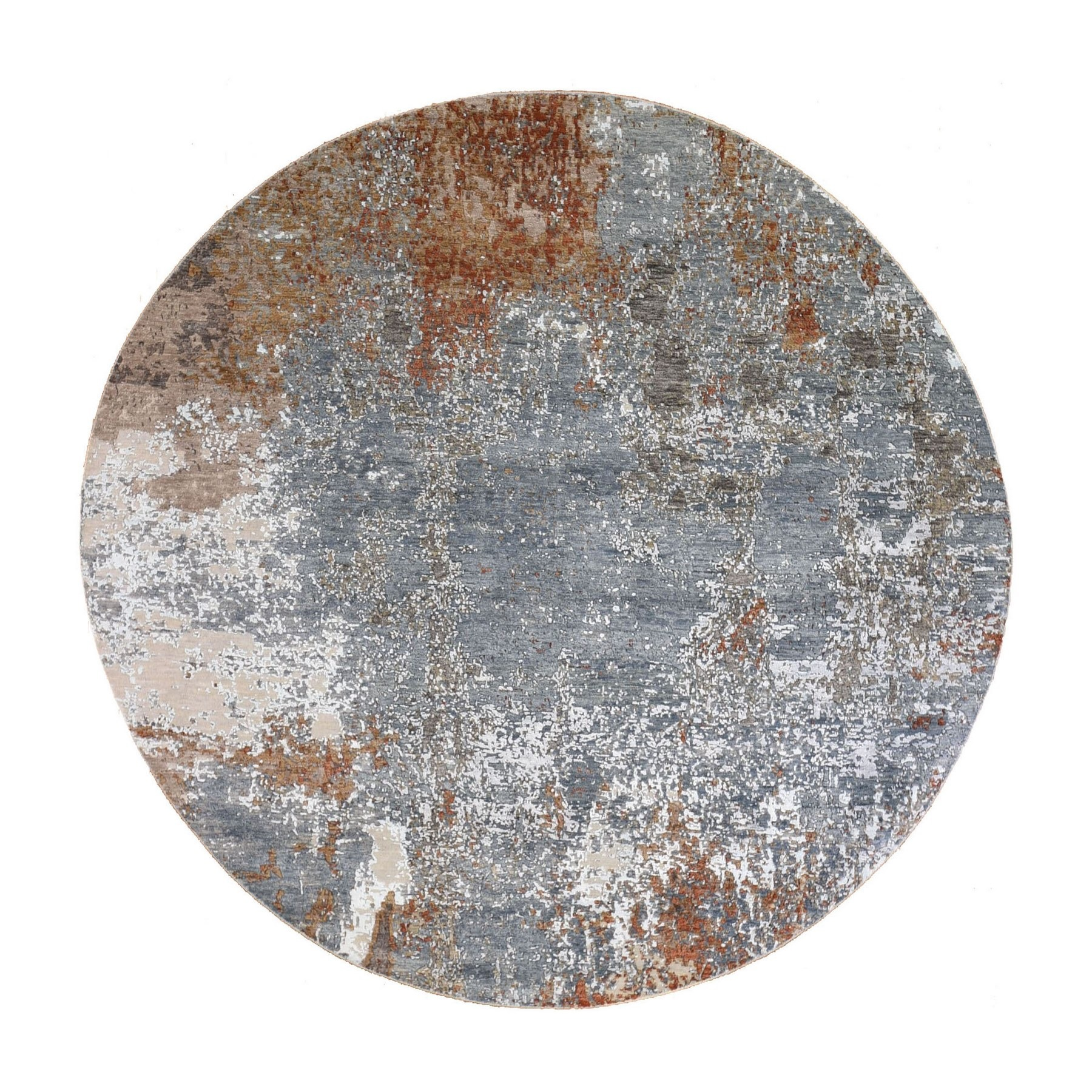 Mid Century Modern Collection Hand Knotted Blue Rug No: 1132878