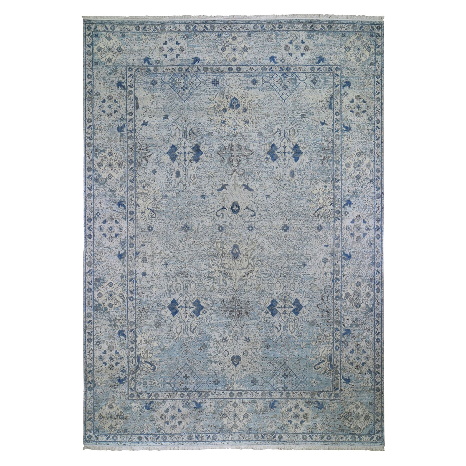 Mid Century Modern Collection Hand Knotted Ivory Rug No: 1132892