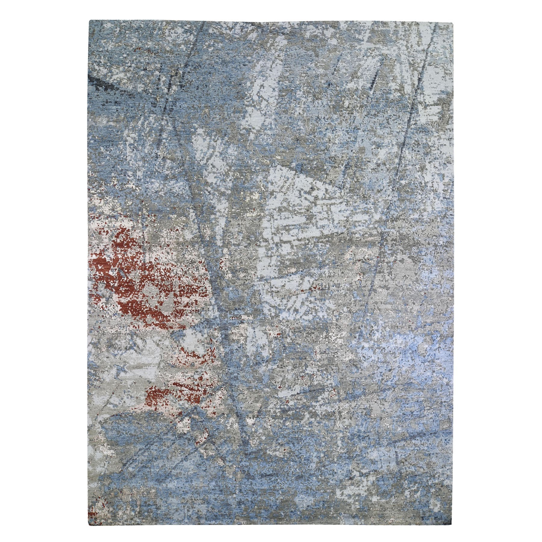 Mid Century Modern Collection Hand Knotted Blue Rug No: 1132906